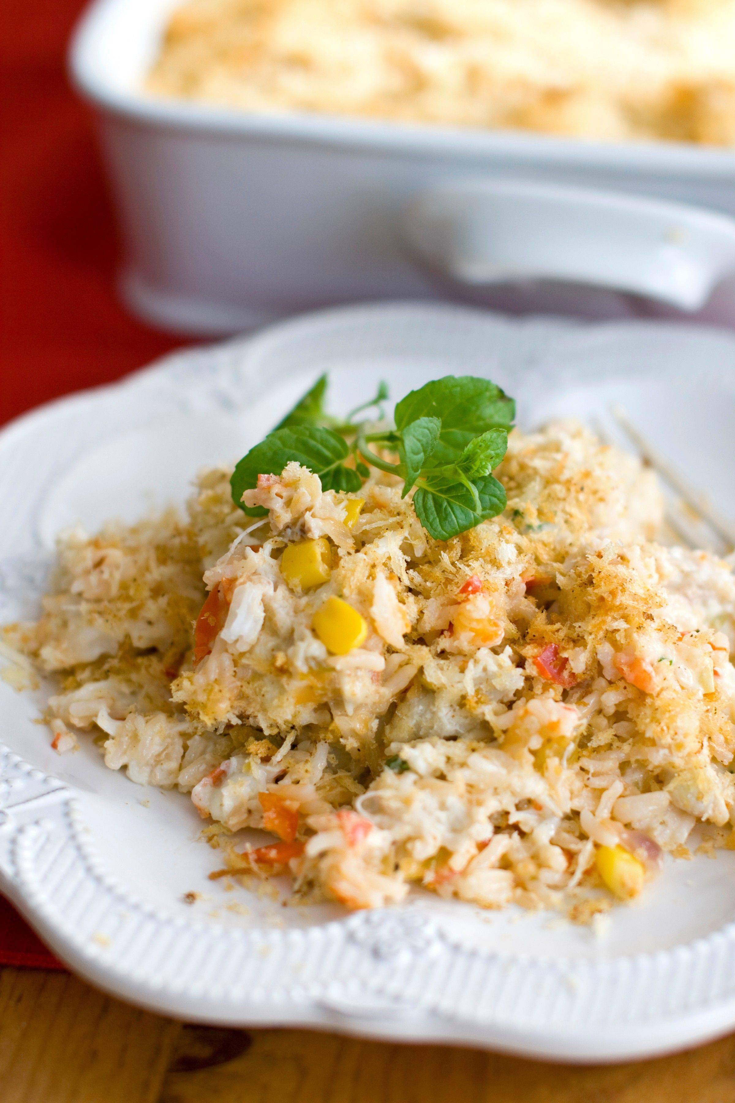 This dish takes the flavor of a creamy crab dip and turns it into a meal. It serves 16 as a hearty dinner, but can feed many more at a potluck, where diners tend to take smaller portions of each dish.