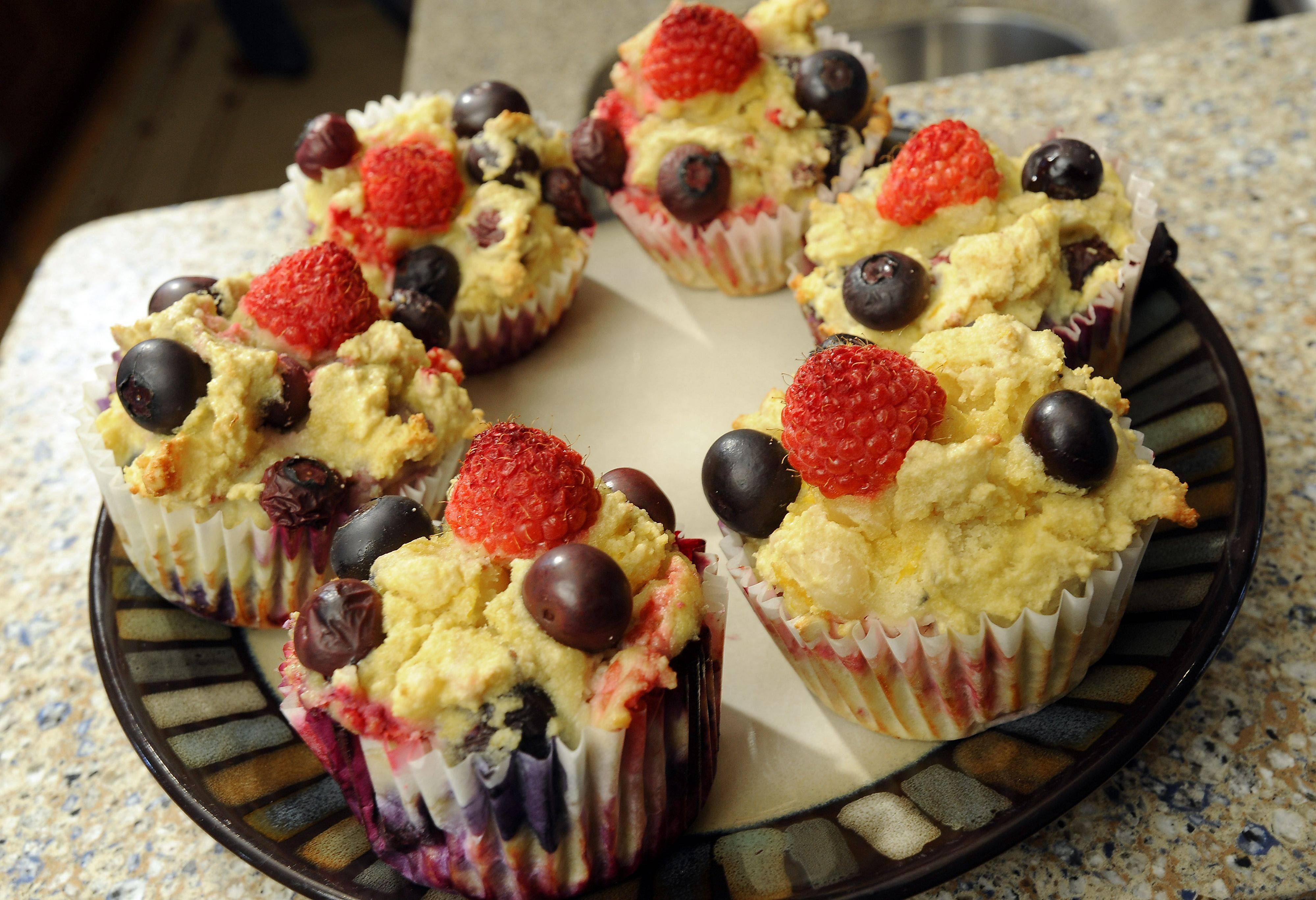 Fresh berries perk up Karen Stoychoff Inman's Good Berry Morning Muffins.