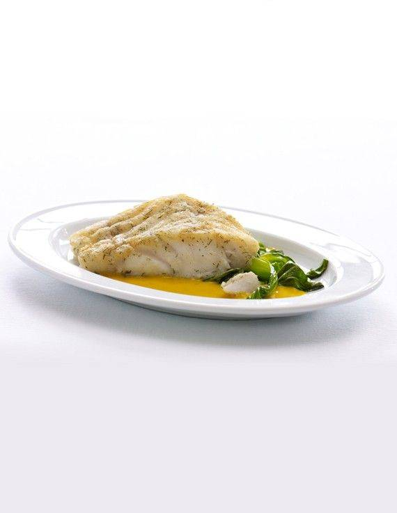 Braised Cod with Gingered Carrot-Coconut Sauce