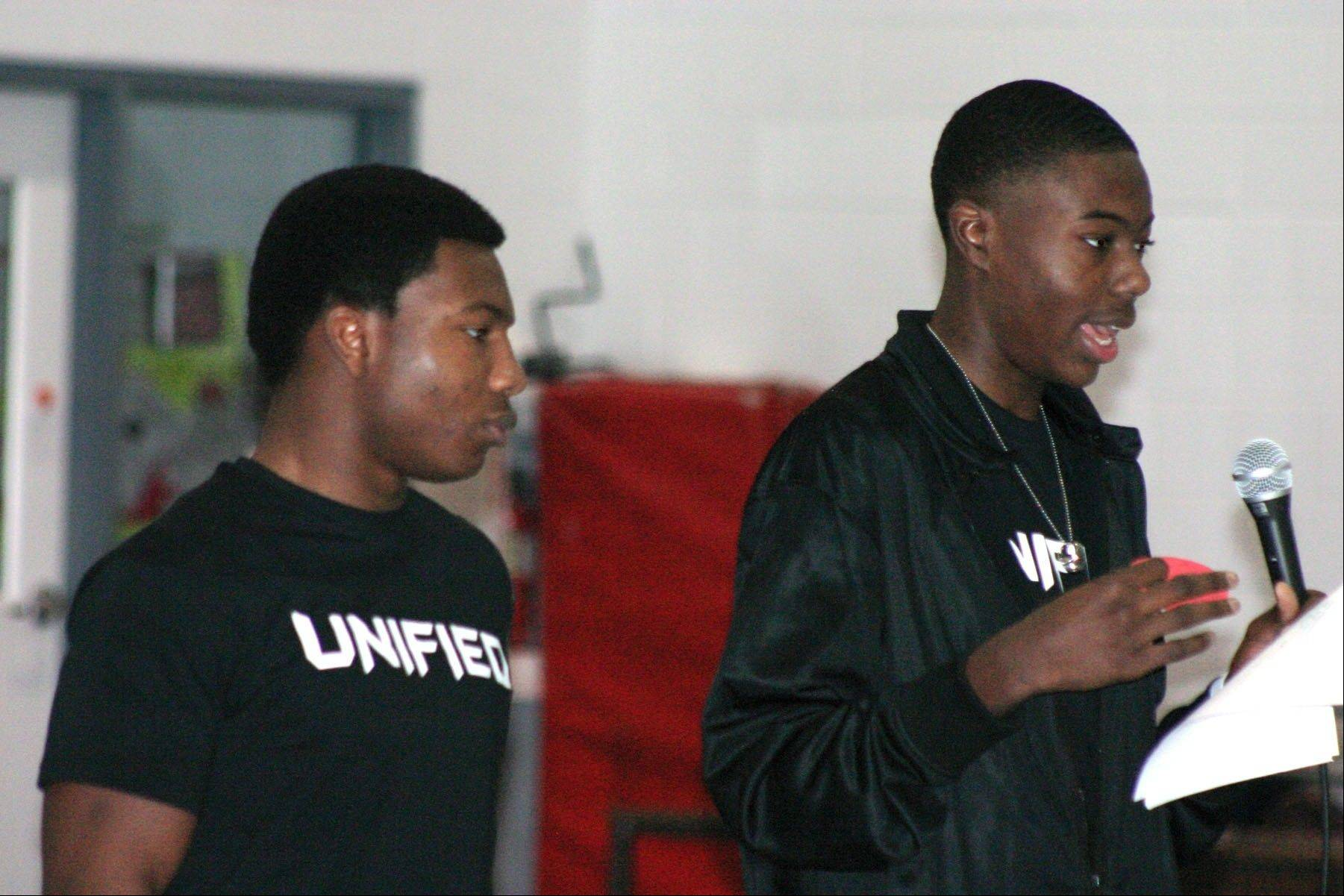 Mooseheart junior Junior Smith, left, and senior Jesse Mennis give instructions to their classmates prior to a Jan. 18 anti-bullying workshop held by all the campus' high school students. Smith and Mennis are part of the school's PR Council, which helped organize the event.