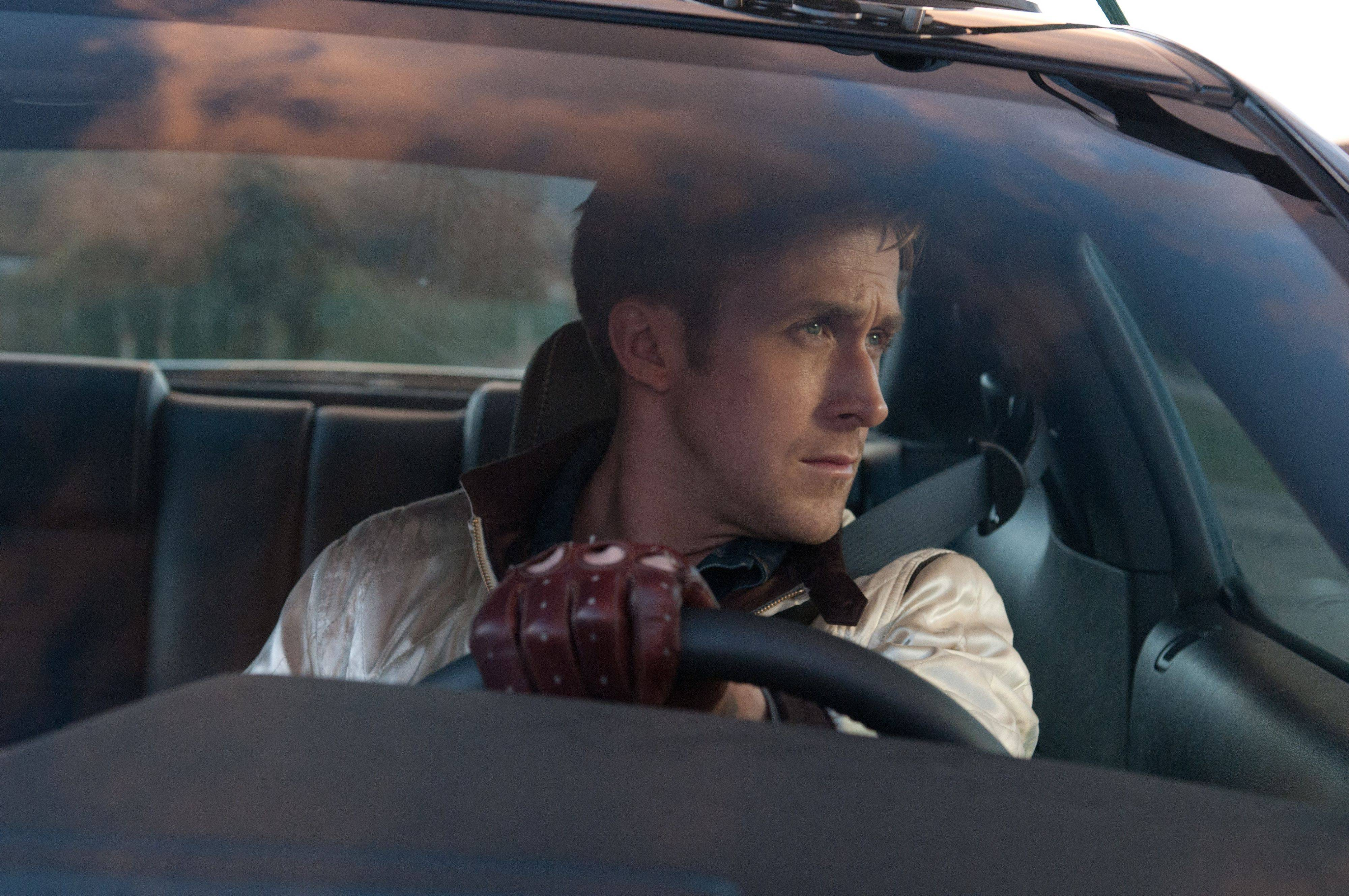 "Ryan Gosling is a stunt car driver by day, getaway driver by night, in the crime drama ""Drive."""