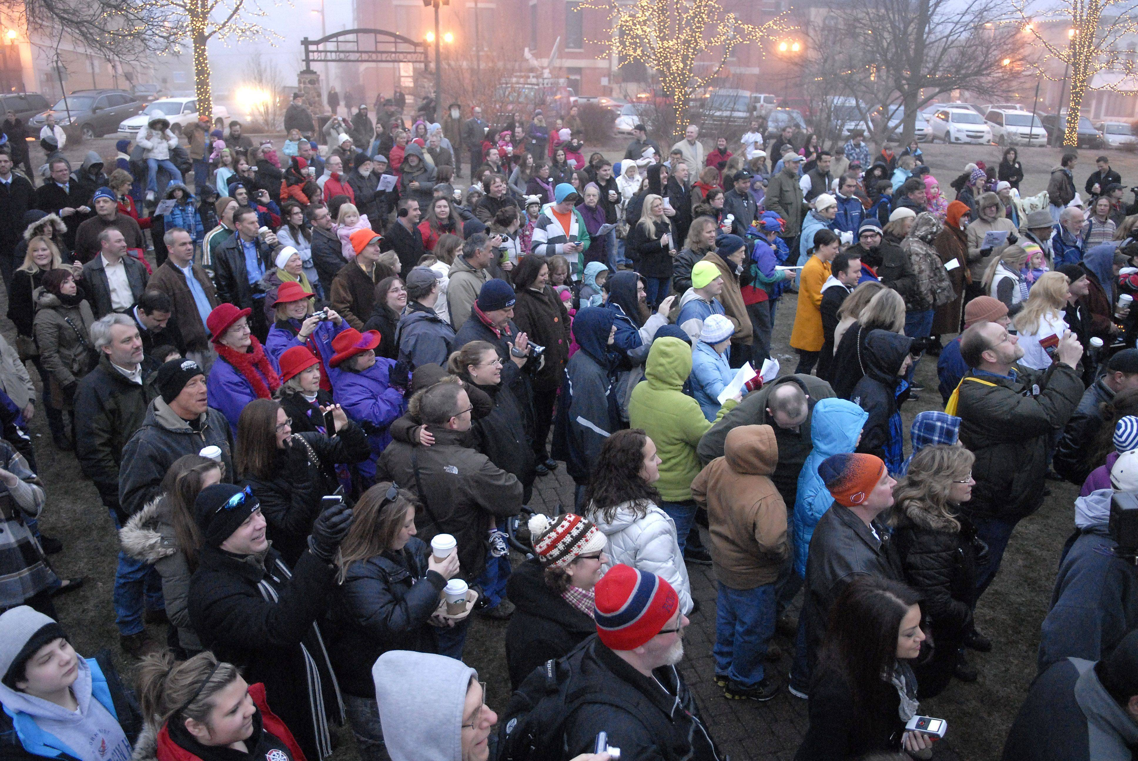 The annual Groundhog Day extravaganza drew a crowd of about 500 to the Woodstock Square. Organizers said it was the biggest crowd ever.