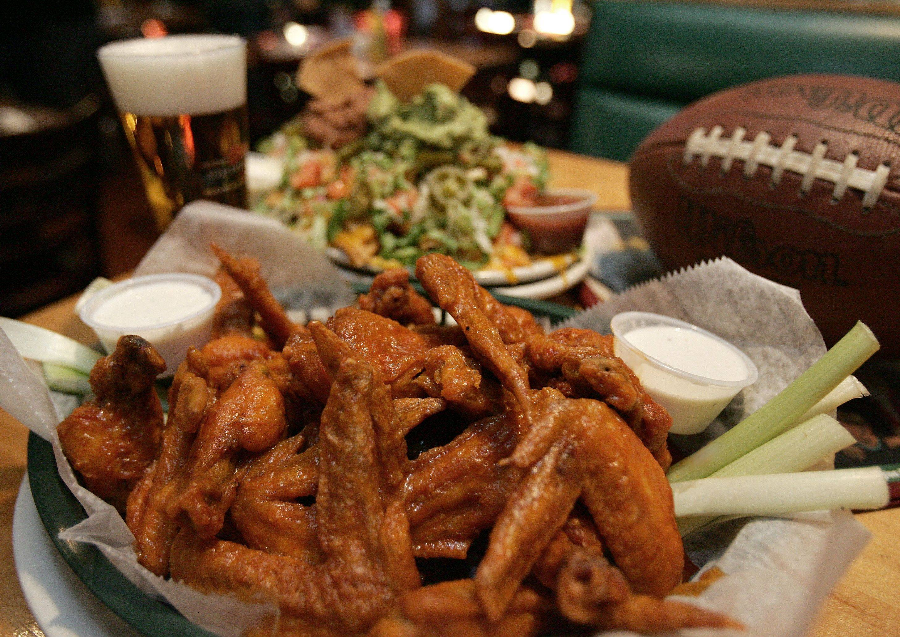 Chicken wings are among the free buffet offerings at the Sports Page in Arlington Heights.