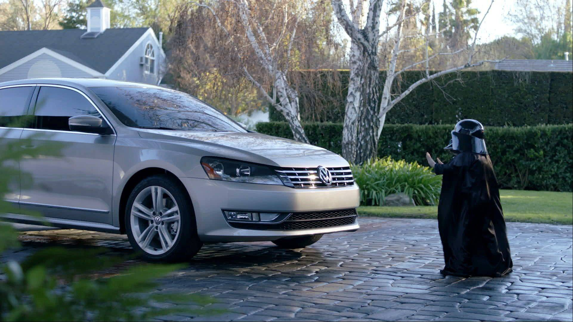 "In this file screen shot provided by Volkswagen of America, a child actor portraying Darth Vader uses the Force on a 2012 Volkswagen Passat in a 2011 Super Bowl ad. Volkswagen charmed millions of viewers last year with a ""Star Wars""-themed ad introducing its redesigned 2012 Passat sedan."