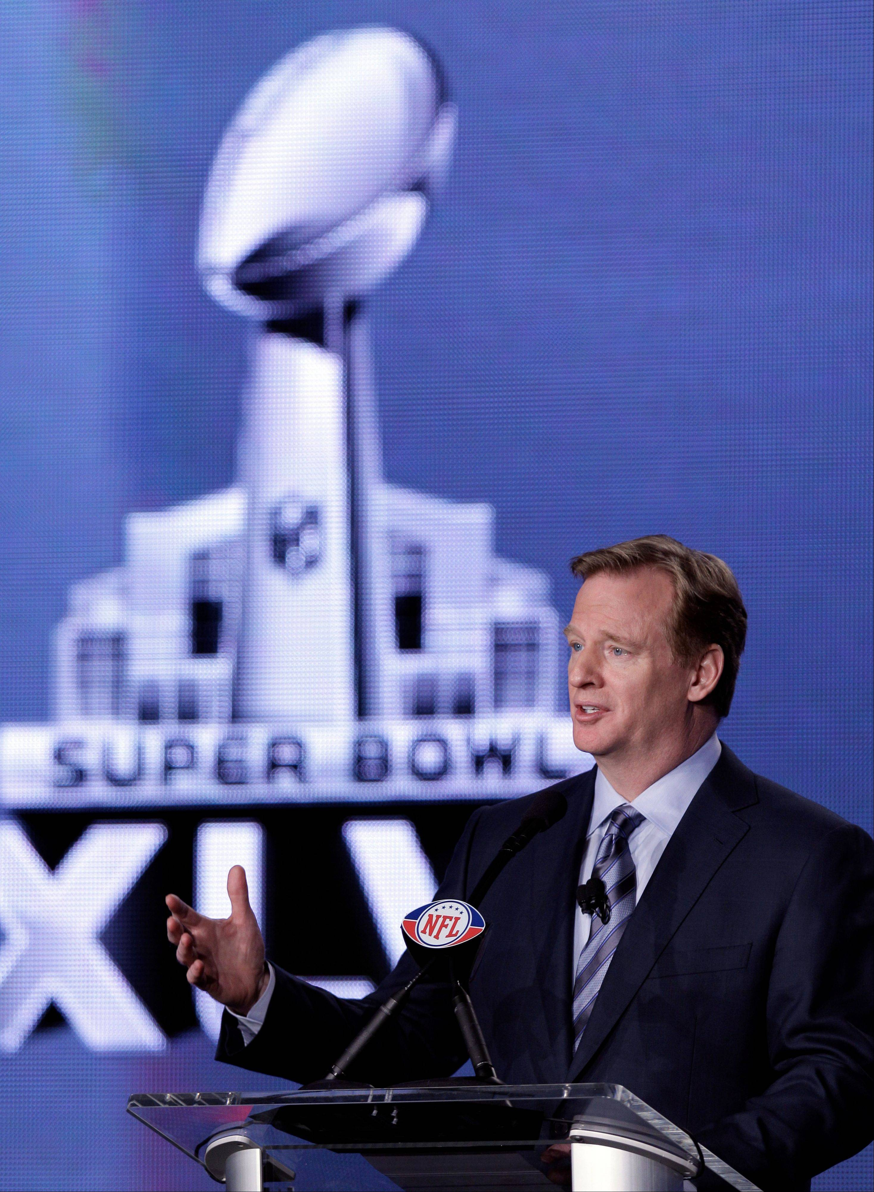 NFL Commissioner Roger Goodell answers a question during a news conference Friday, Feb. 3, 2012, in Indianapolis. The New England Patriots will face the New York Giants in Super Bowl XLVI on Feb. 5.