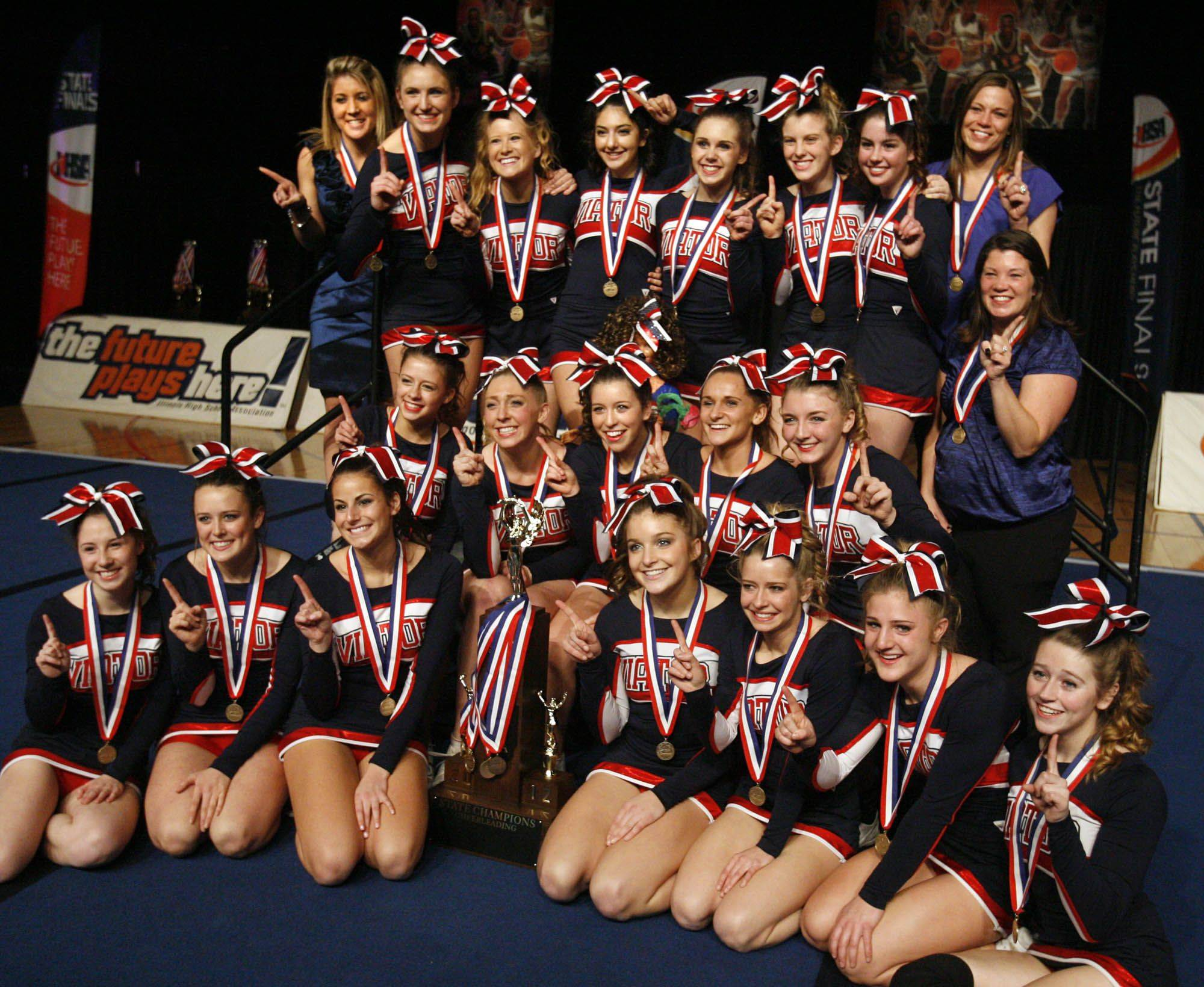 George Leclaire/gleclaire@dailyherald.comSt. Viator High School cheerleading team took first place at IHSA cheerleading state finals for the medium school category at U.S. Cellular Coliseum in Bloomington on Saturday.