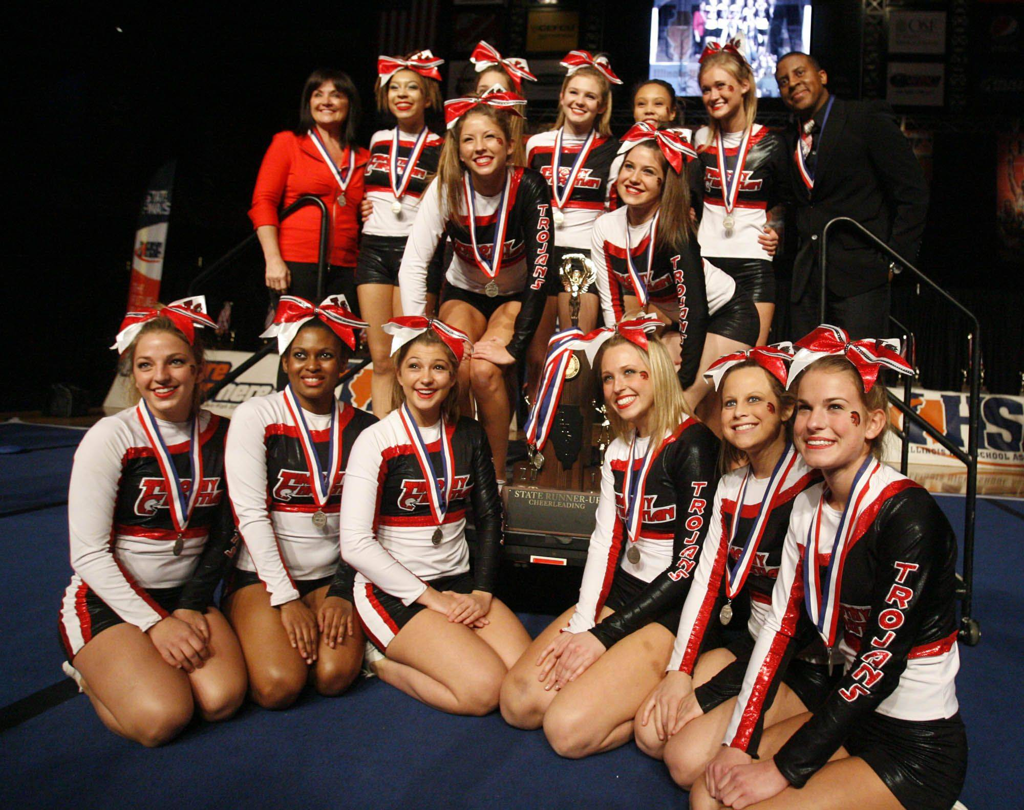 Timothy Christian with the second place at IHSA cheerleading state finals for the small school category at U.S. Cellular Coliseum in Bloomington on Saturday.