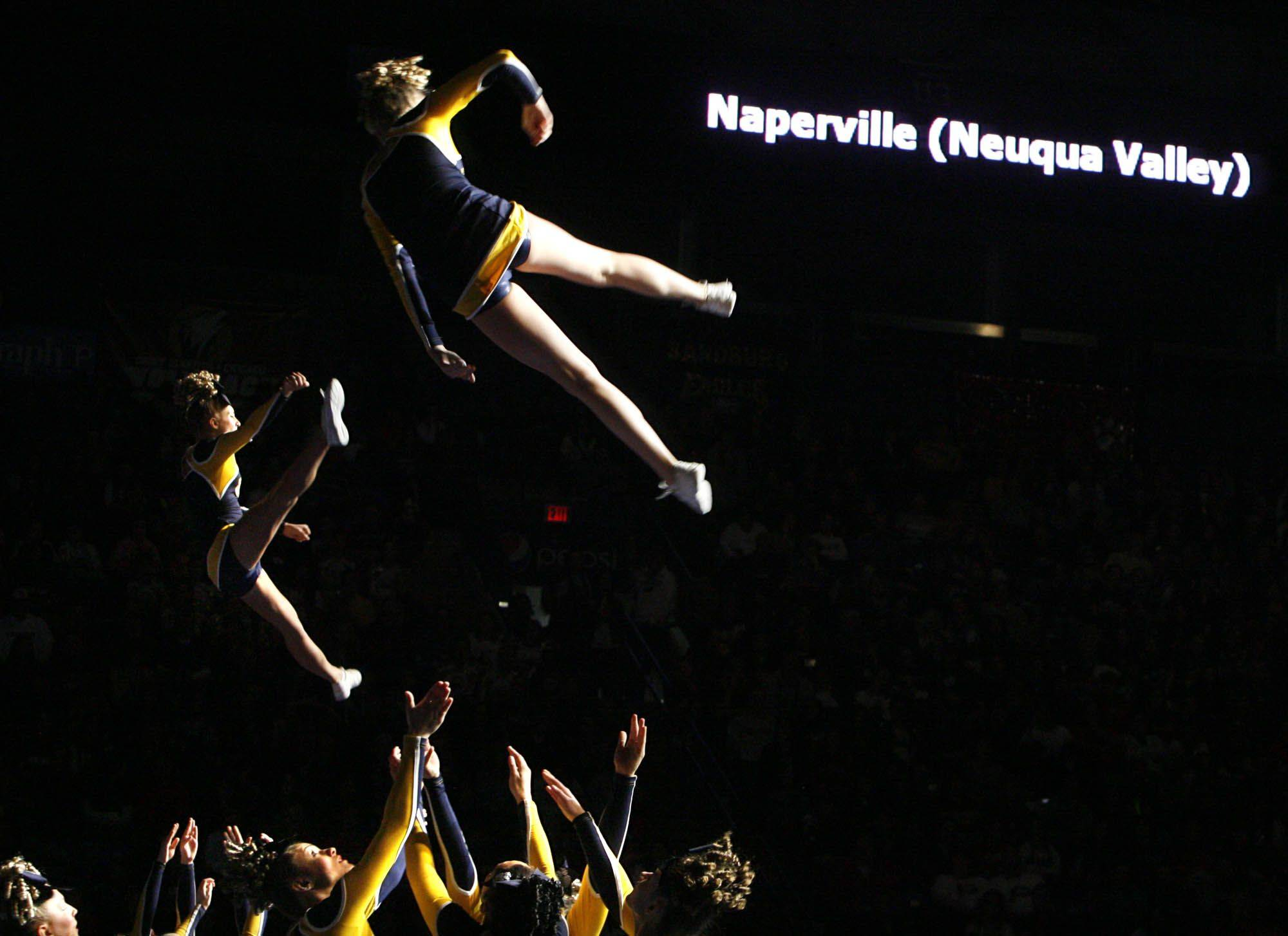 Neuqua Valley performs at IHSA cheerleading state finals at U.S. Cellular Coliseum in Bloomington on Saturday, February 4th.