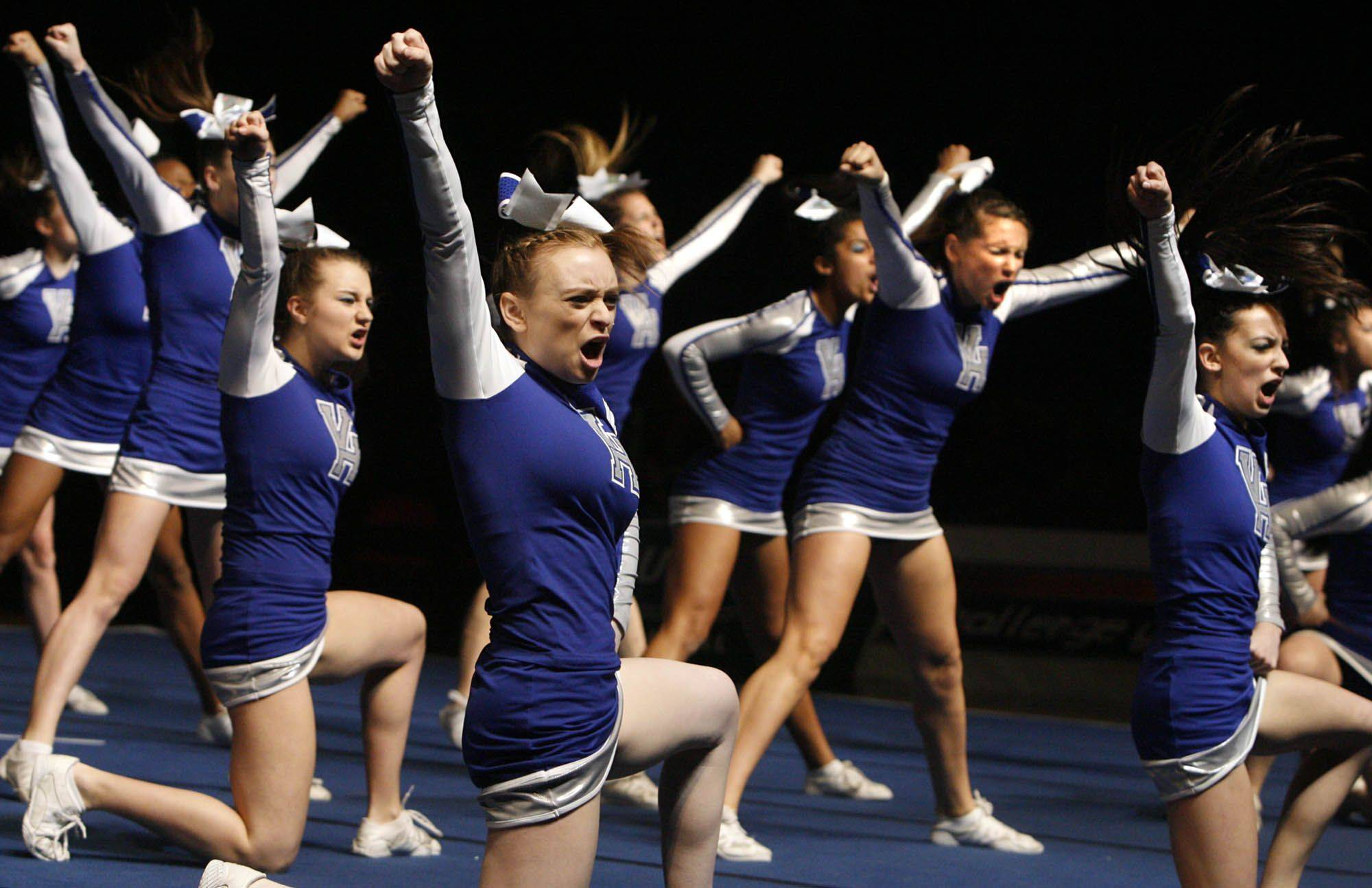 Vernon Hills compete in the mediuml team category at IHSA cheerleading state finals at U.S. Cellular Coliseum in Bloomington on Saturday, February 4th.