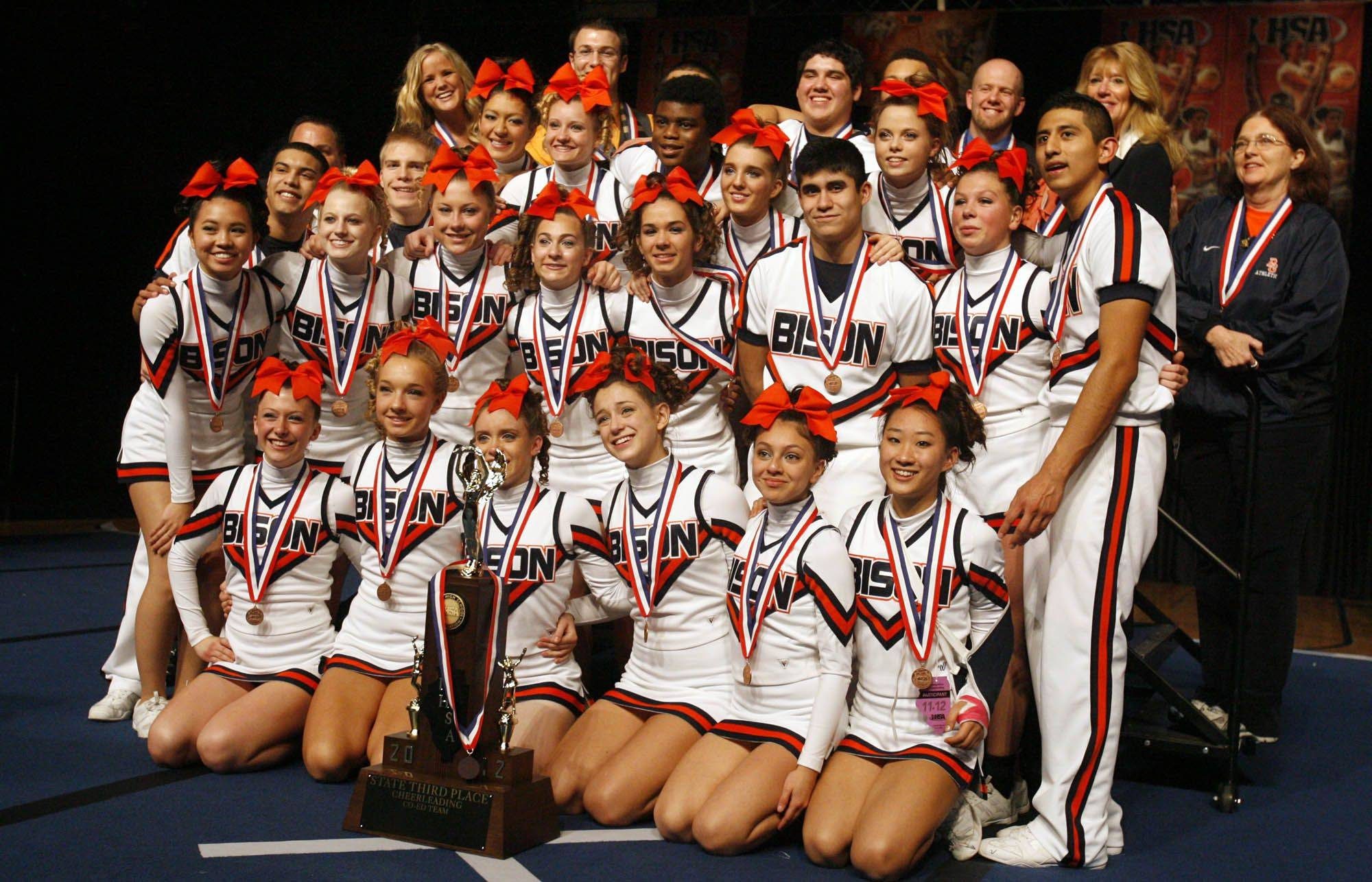Buffalo Grove after placing 3rd for coed division at IHSA cheerleading state finals at U.S. Cellular Coliseum in Bloomington on Saturday, February 4th.