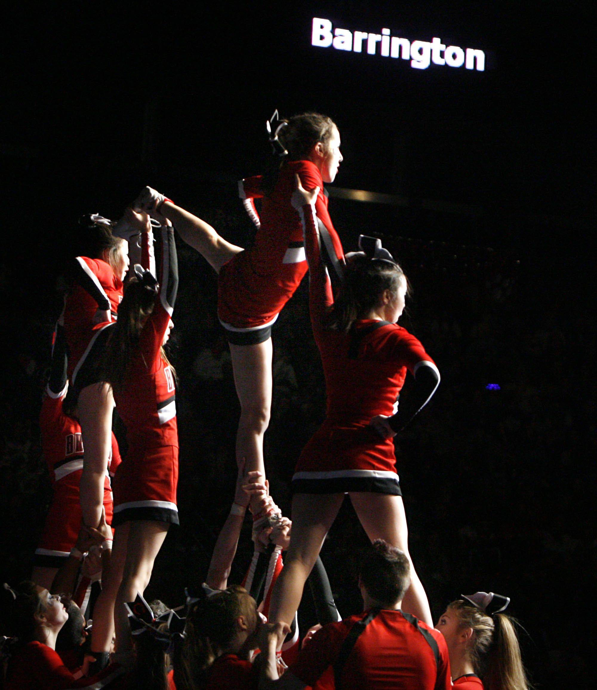 Barrington performs at IHSA cheerleading state finals at U.S. Cellular Coliseum in Bloomington on Saturday, February 4th.