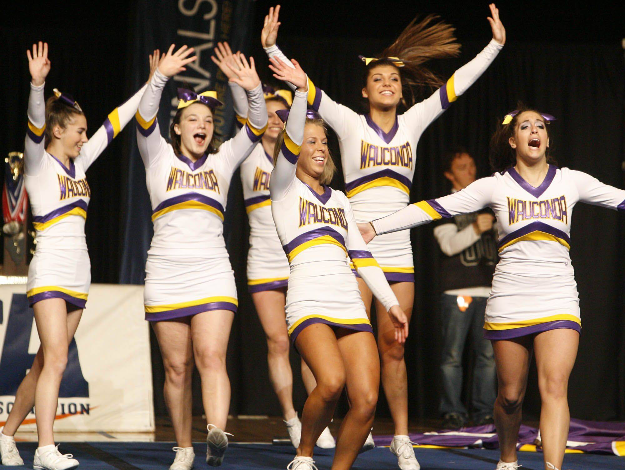 Wauconda competes in the medium team category at IHSA cheerleading state finals at U.S. Cellular Coliseum in Bloomington on Saturday, February 4th.