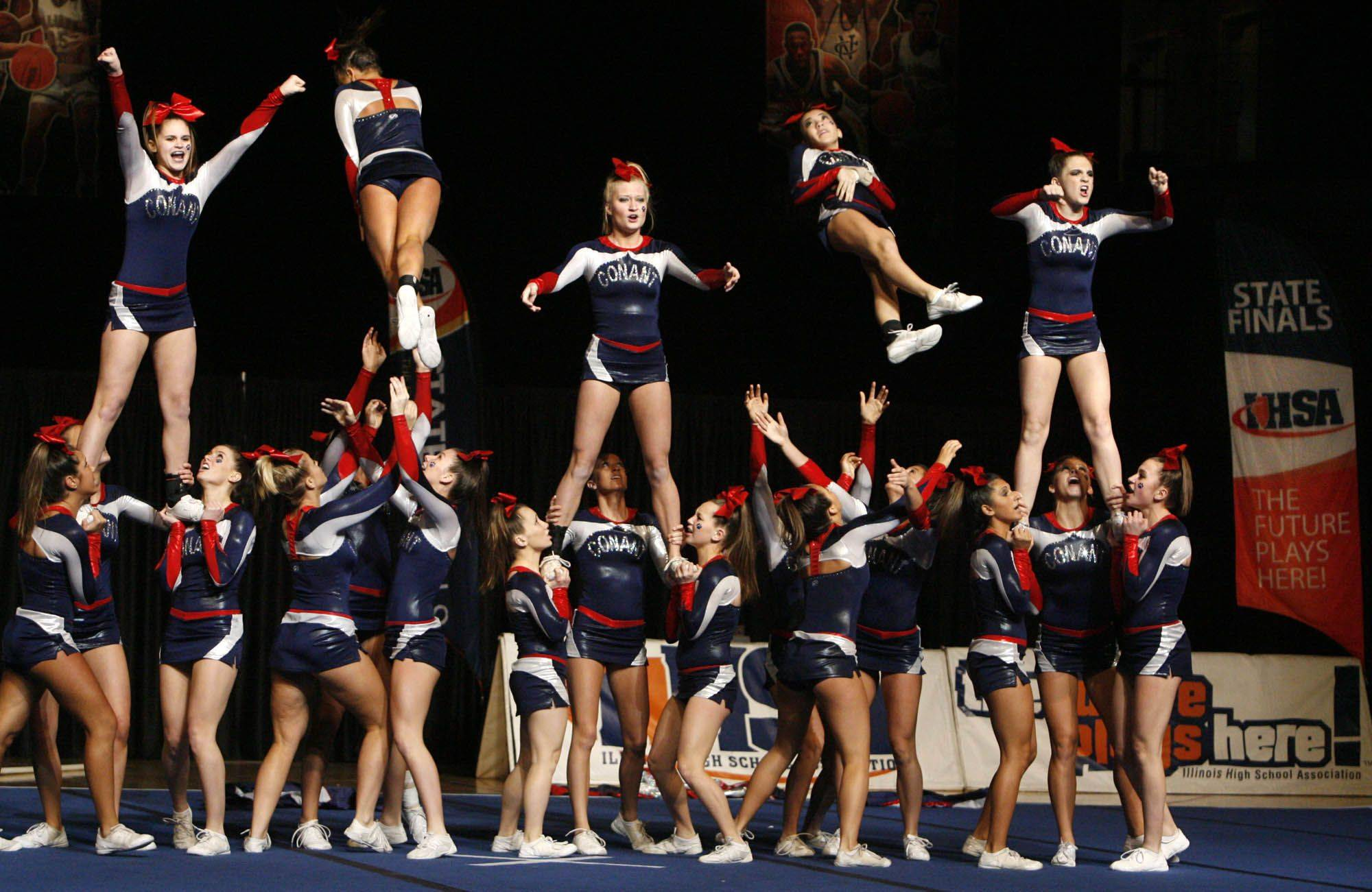 Conant performs at IHSA cheerleading state finals at U.S. Cellular Coliseum in Bloomington on Saturday, February 4th.
