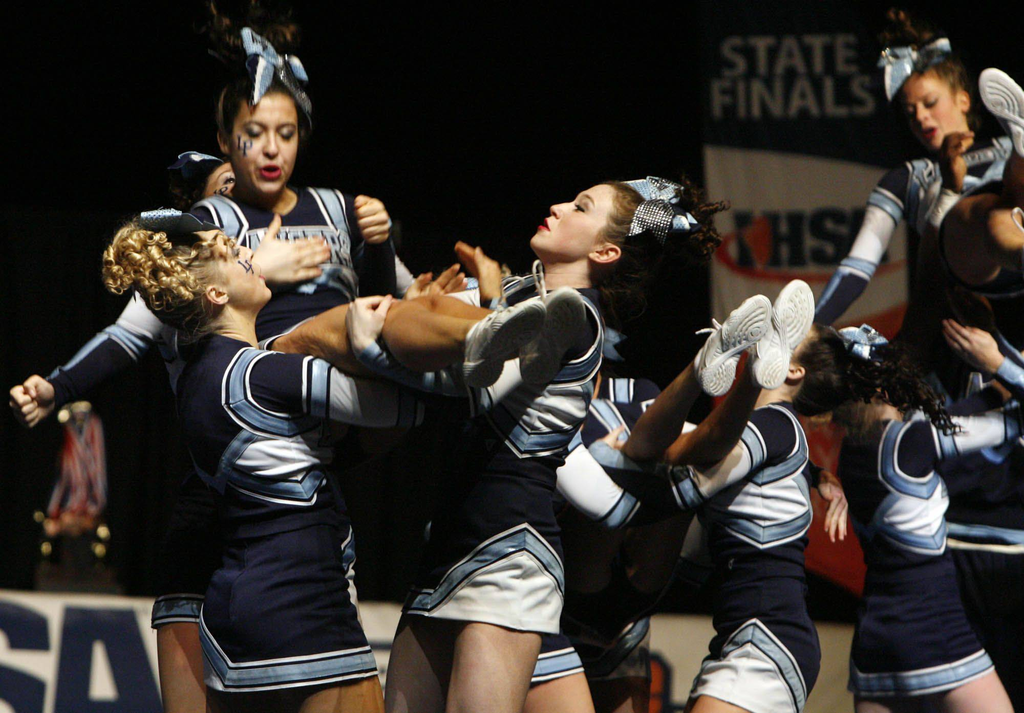 Lake Park performs at IHSA cheerleading state finals at U.S. Cellular Coliseum in Bloomington on Saturday, February 4th.