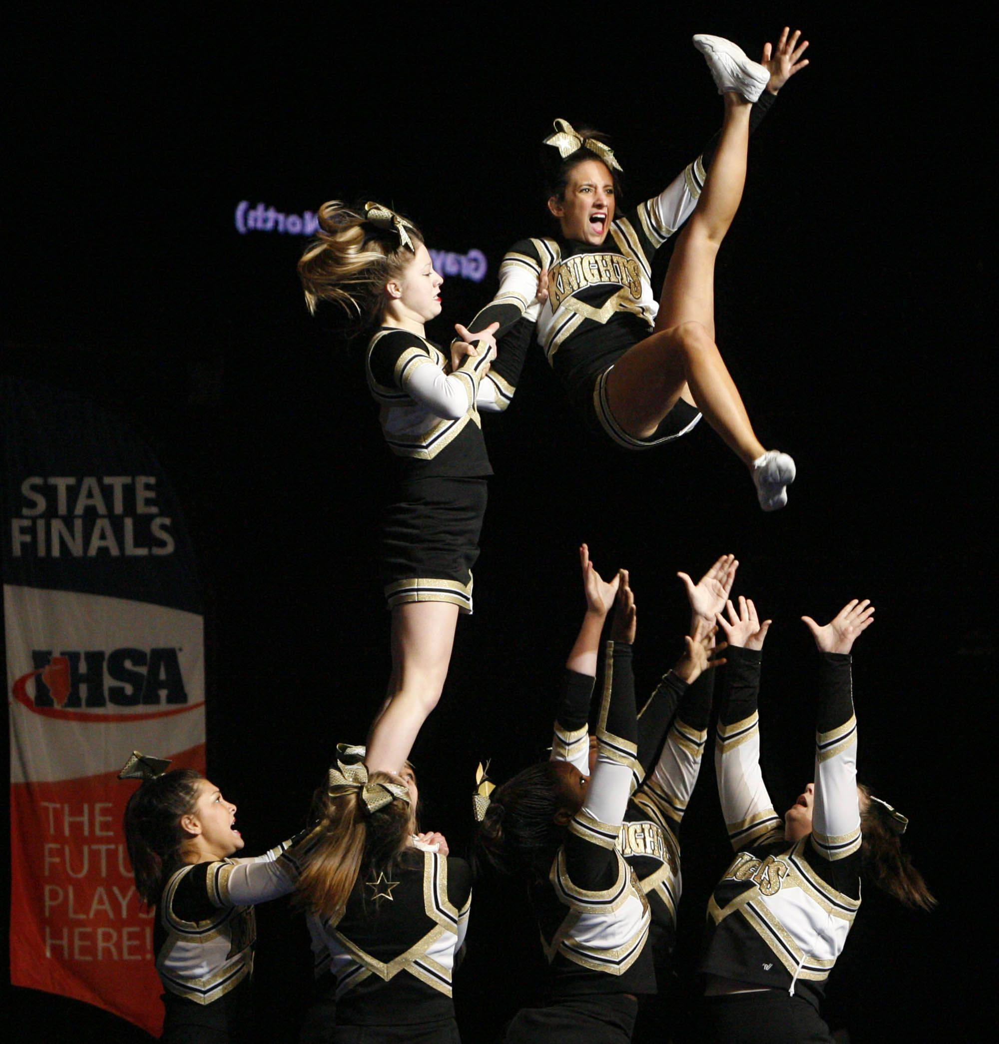 Grayslake North competes in the mediuml team category at IHSA cheerleading state finals at U.S. Cellular Coliseum in Bloomington on Saturday, February 4th.