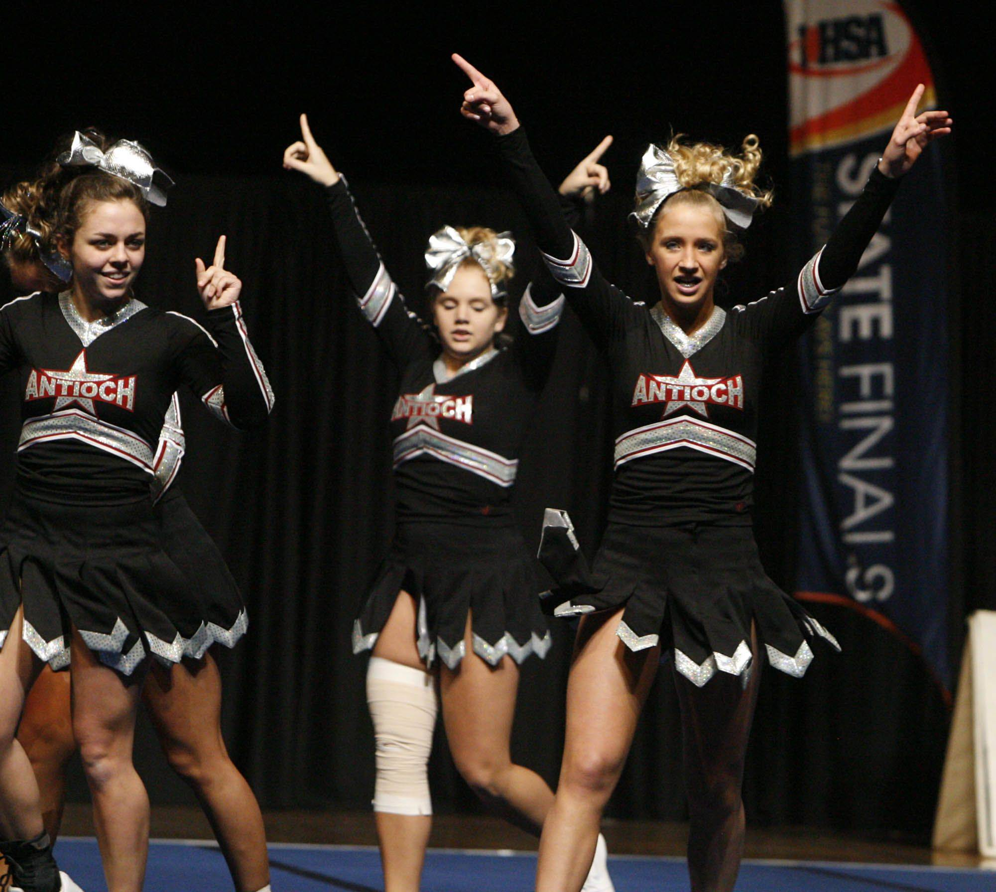 Antioch leaves the floor after competing in the medium team category at IHSA cheerleading state finals at U.S. Cellular Coliseum in Bloomington on Saturday, February 4th.