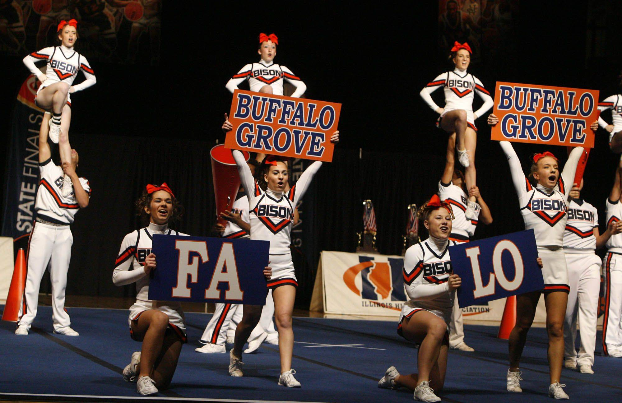 Buffalo Grove performs at IHSA cheerleading state finals at U.S. Cellular Coliseum in Bloomington on Saturday, February 4th.