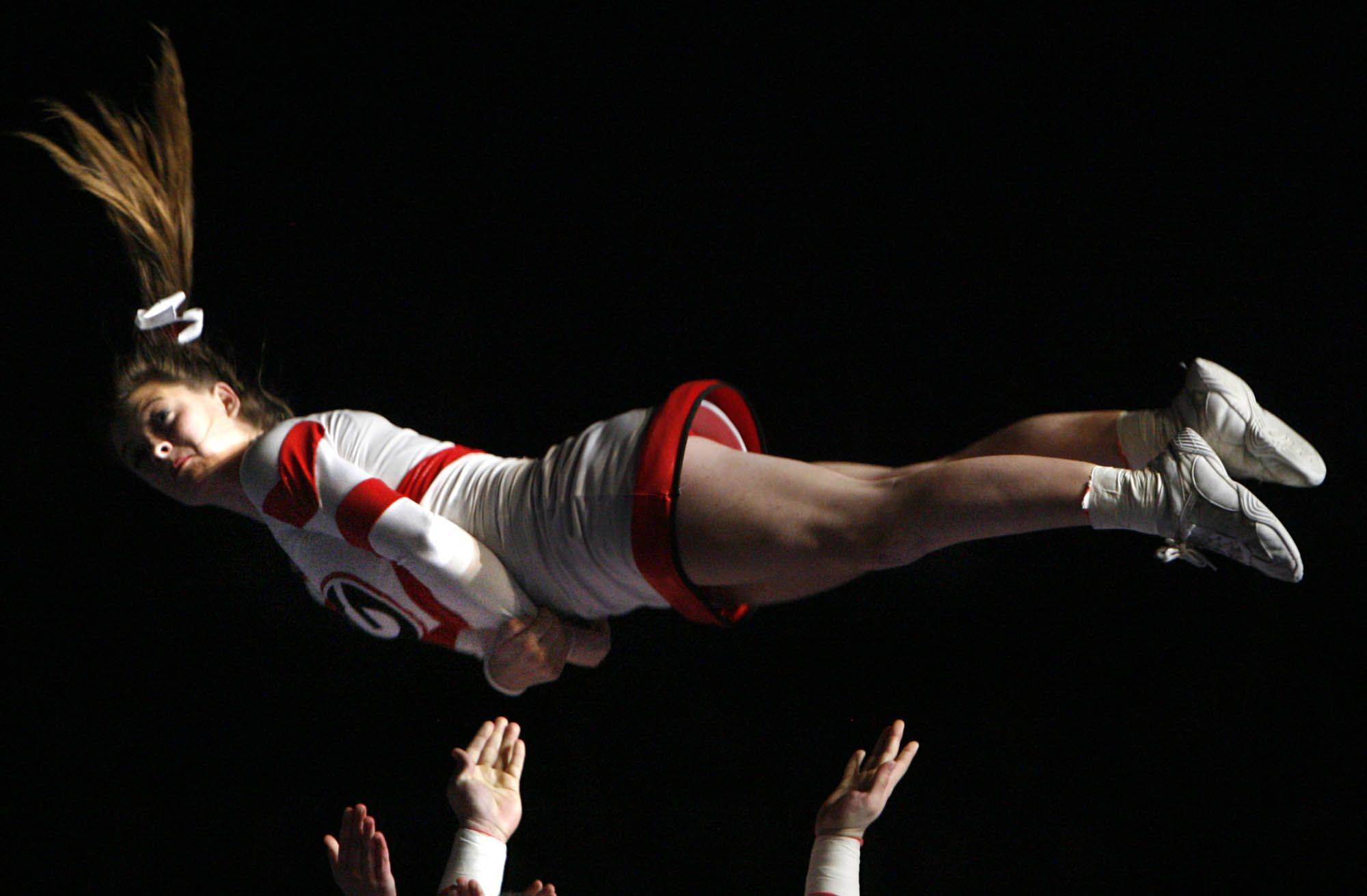 Grant performs at IHSA cheerleading state finals at U.S. Cellular Coliseum in Bloomington on Saturday, February 4th.