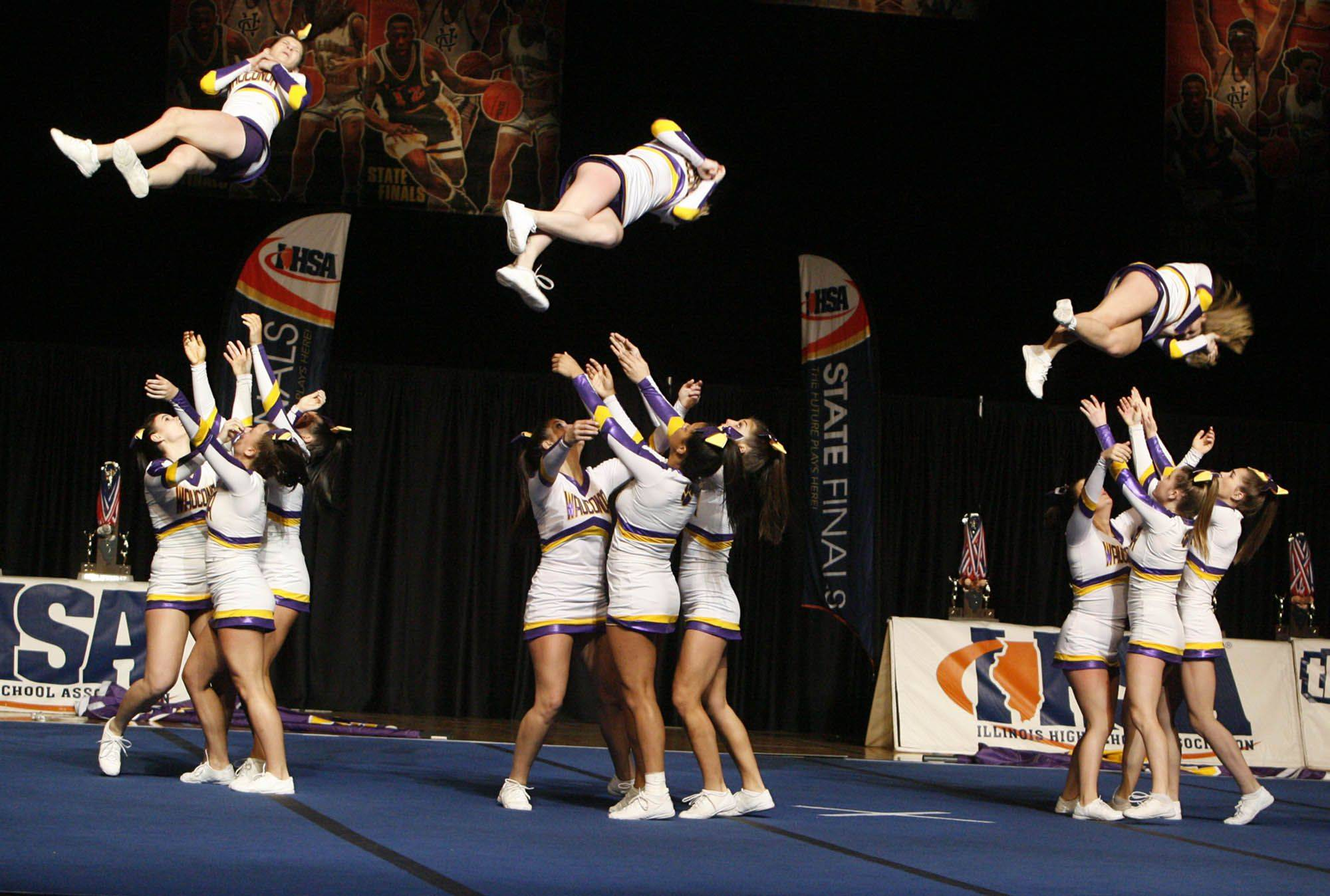 Wauconda competes in the medium team category at IHSA cheerleading state finals at U.S. Cellular Coliseum in Bloomington on Saturday, February 4th