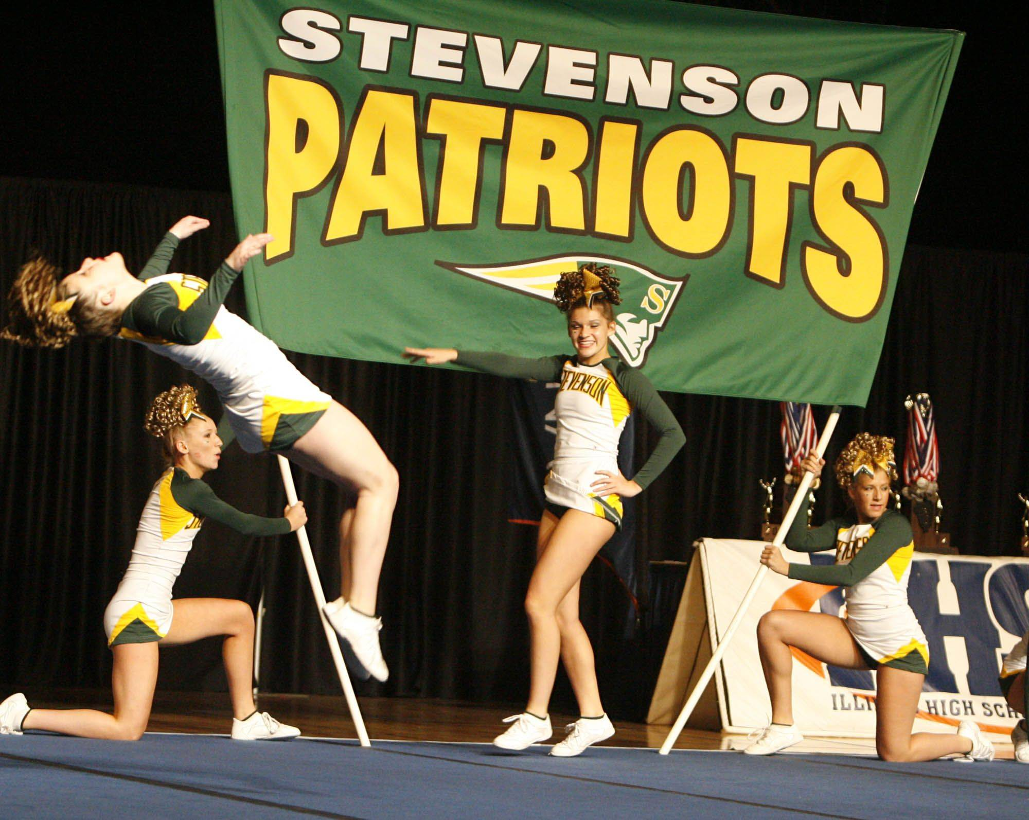 Stevenson performs at IHSA cheerleading state finals at U.S. Cellular Coliseum in Bloomington on Saturday, February 4th.