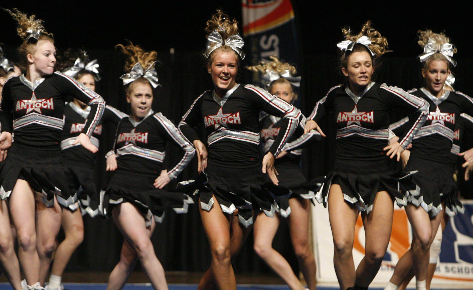 Antioch competes in the medium team category at IHSA cheerleading state finals at U.S. Cellular Coliseum in Bloomington on Saturday, February 4th.