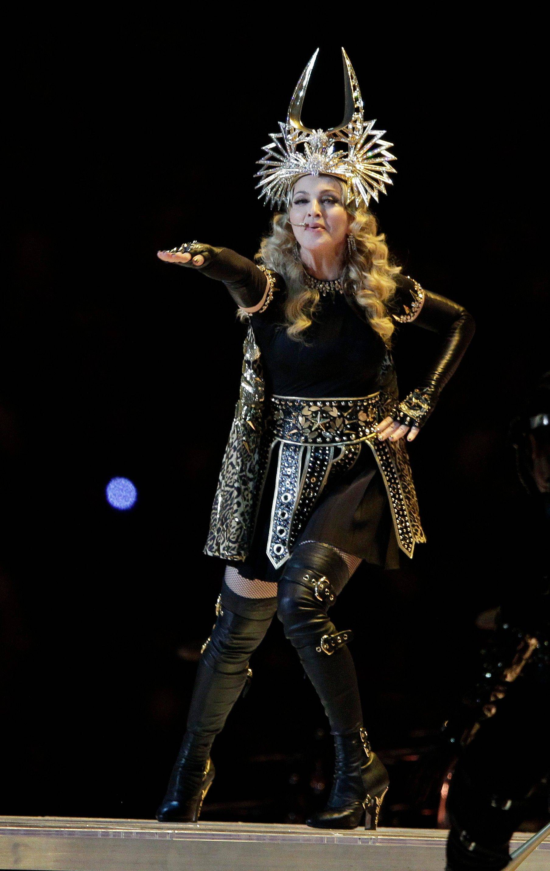 Madonna performs during halftime of the NFL Super Bowl XLVI football game between the New England Patriots and the New York Giants Sunday in Indianapolis.