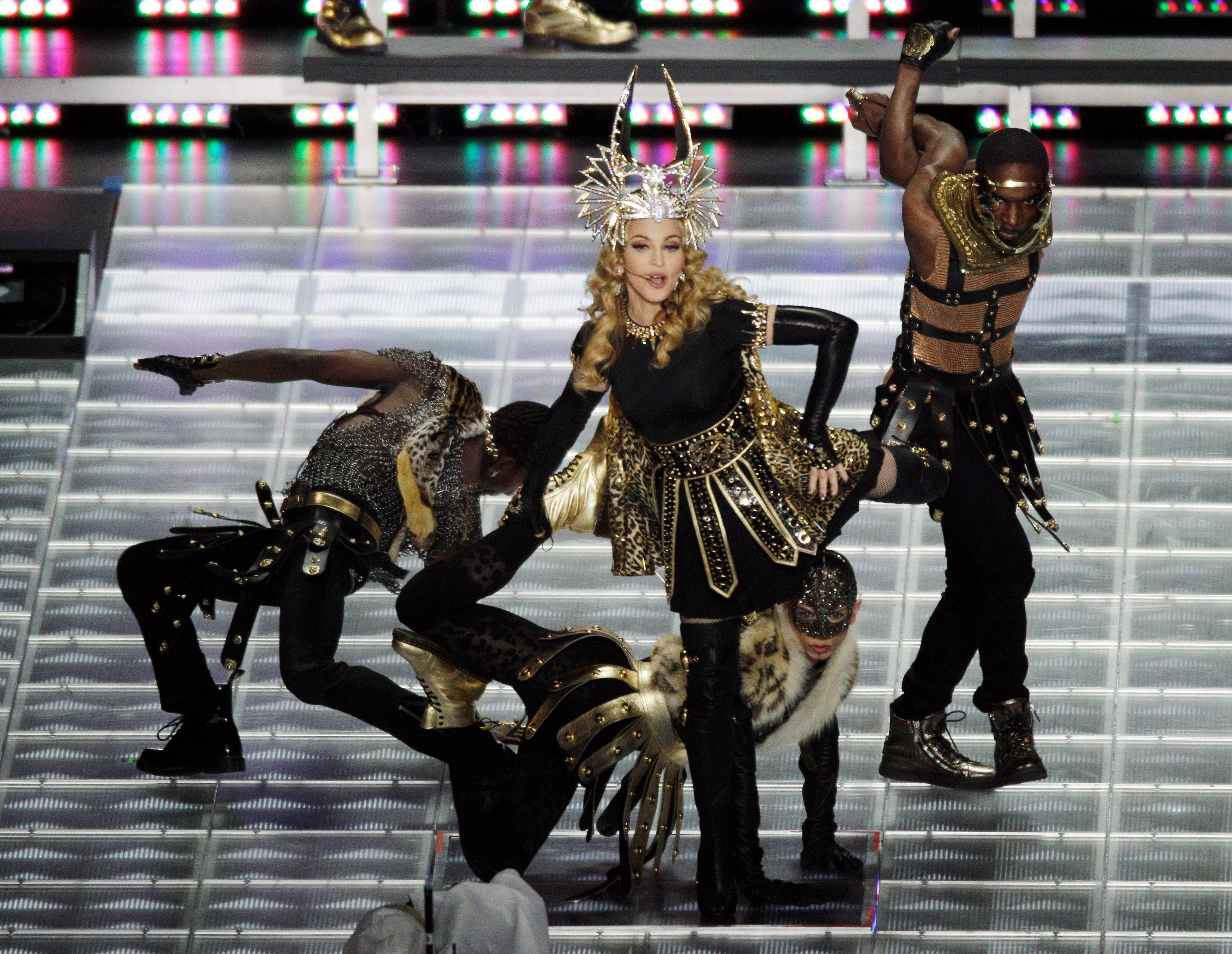 Madonna performs during halftime of the NFL Super Bowl XLVI football game between the New York Giants and the New England Patriots Sunday in Indianapolis.