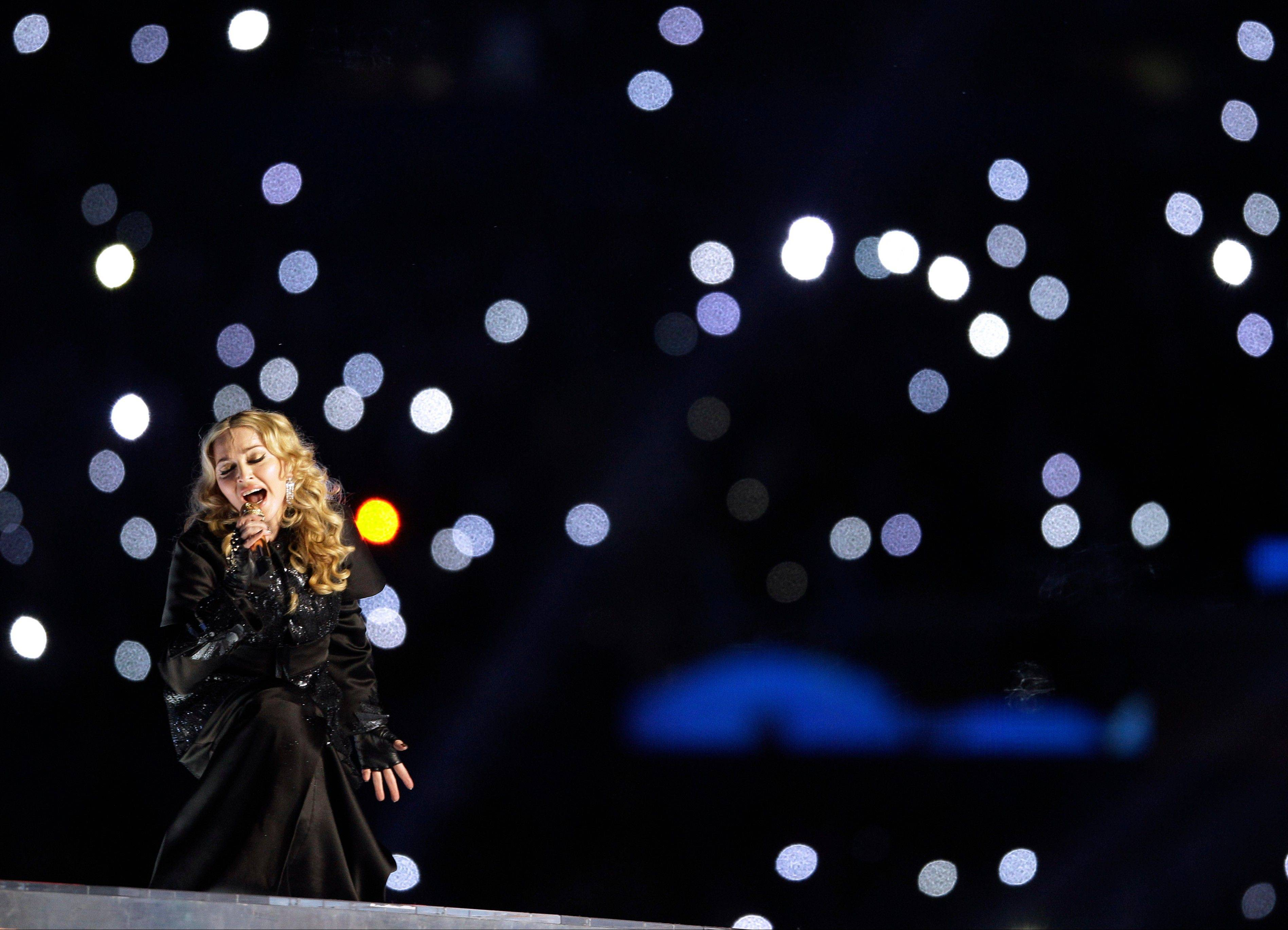 Madonna performs during halftime of the the NFL Super Bowl XLVI football game.