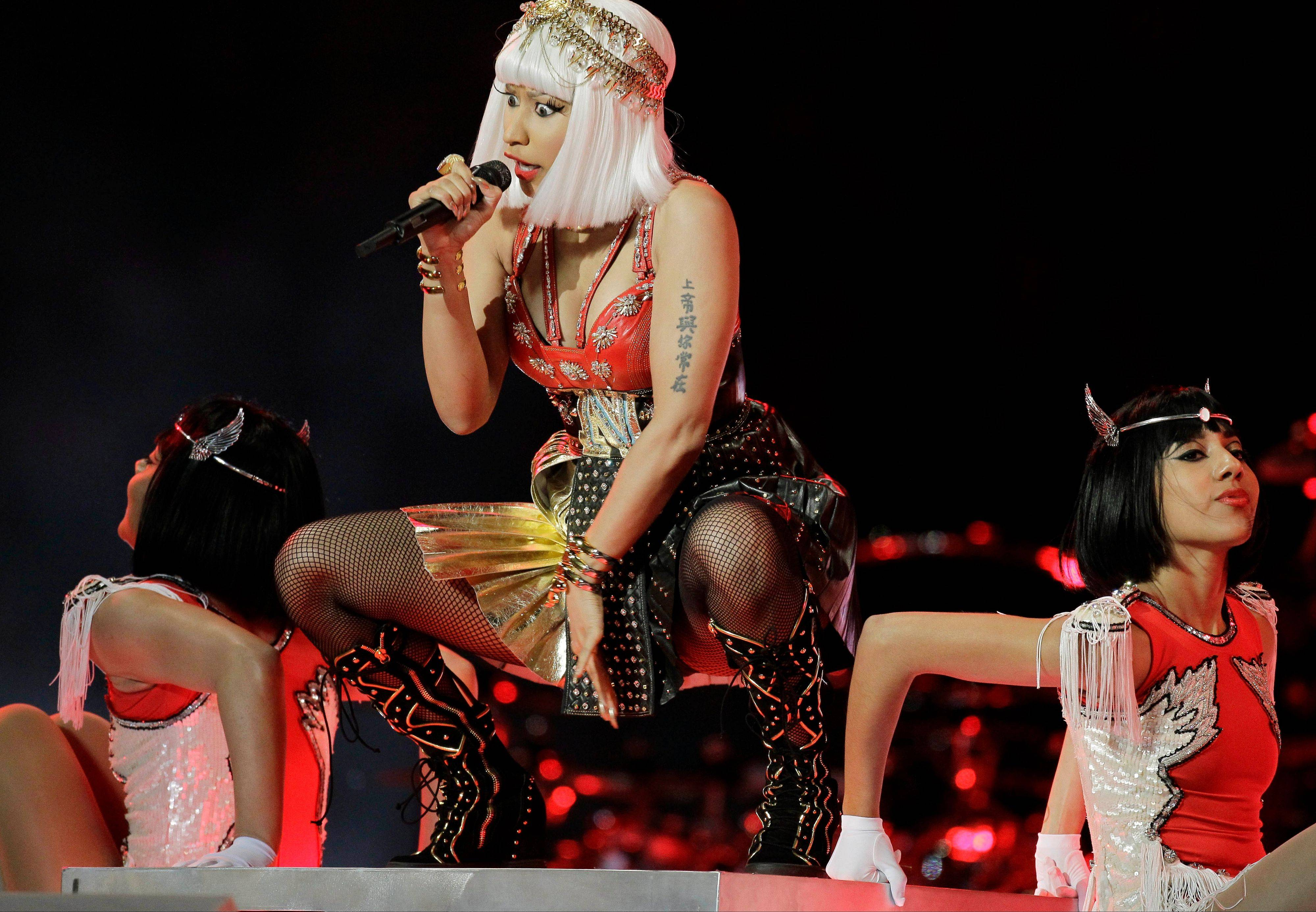 Nicki Minaj performs during halftime of the Super Bowl XLVI football game.