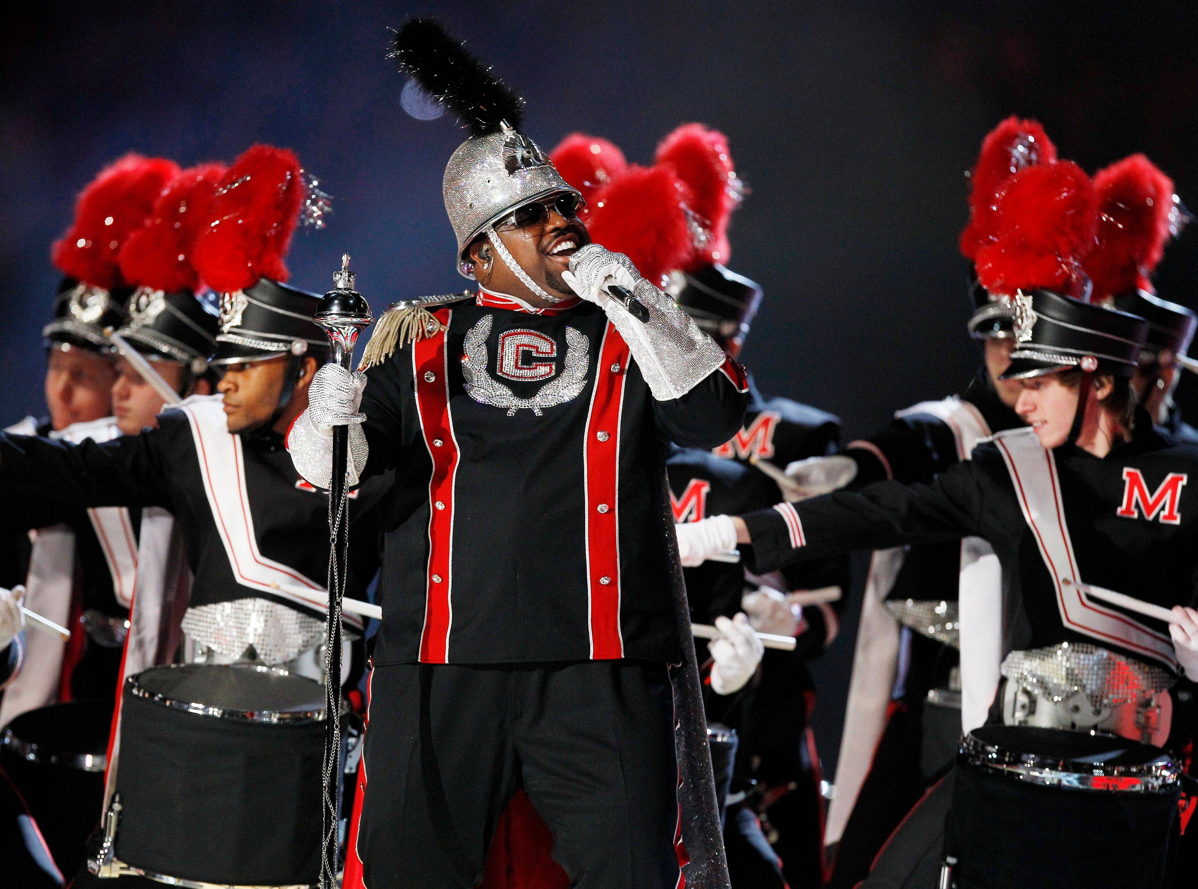 Cee Lo Green performs during Madonna's halftime show at the Super Bowl.