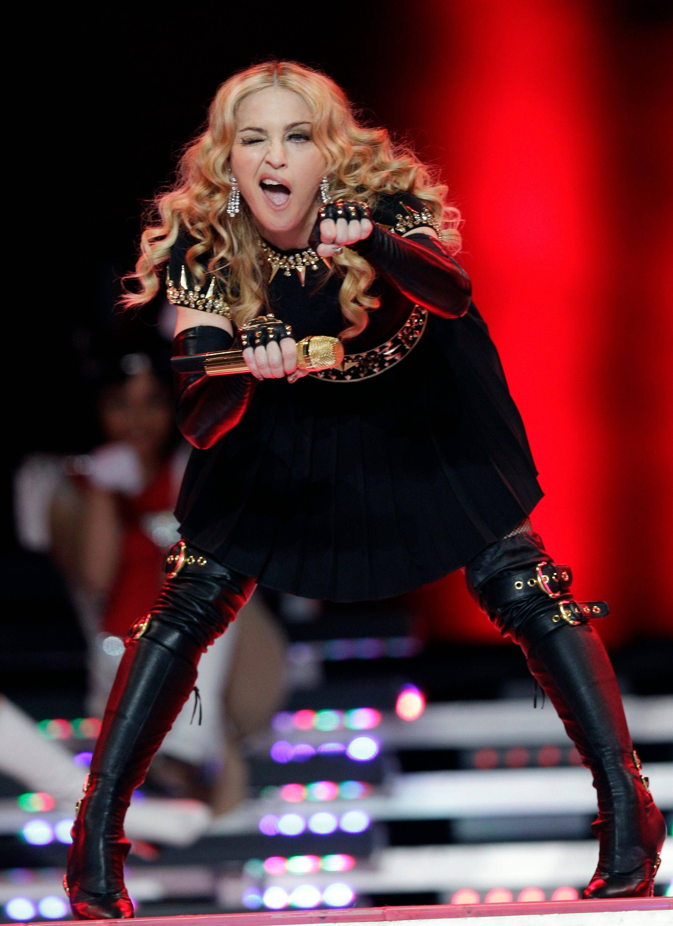 Madonna performs during halftime of the NFL Super Bowl XLVI football game.
