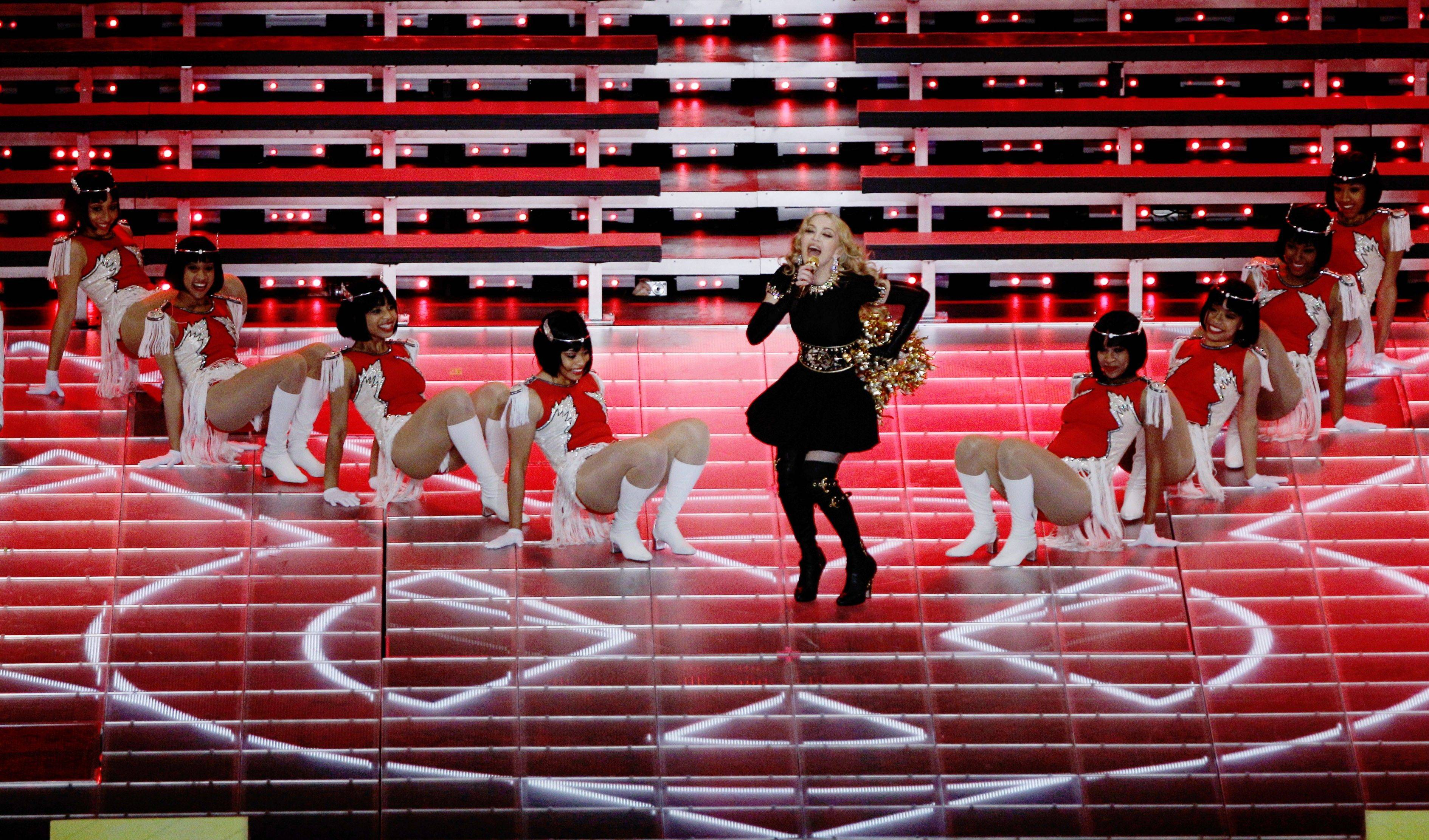 Madonna performs during halftime of Super Bowl XLVI.