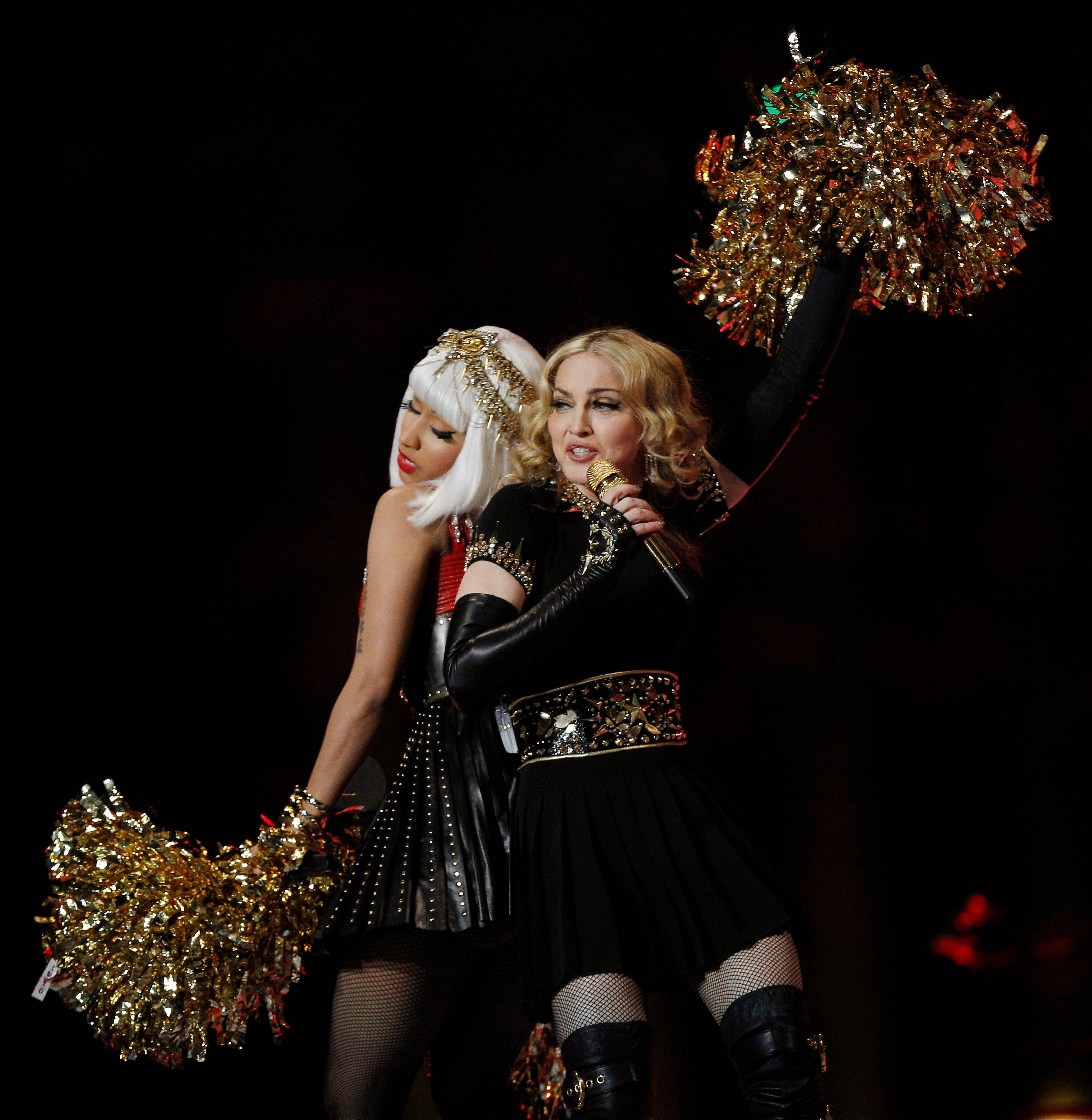Madonna, right, and Nicki Minaj perform during halftime of the NFL Super Bowl XLVI game.