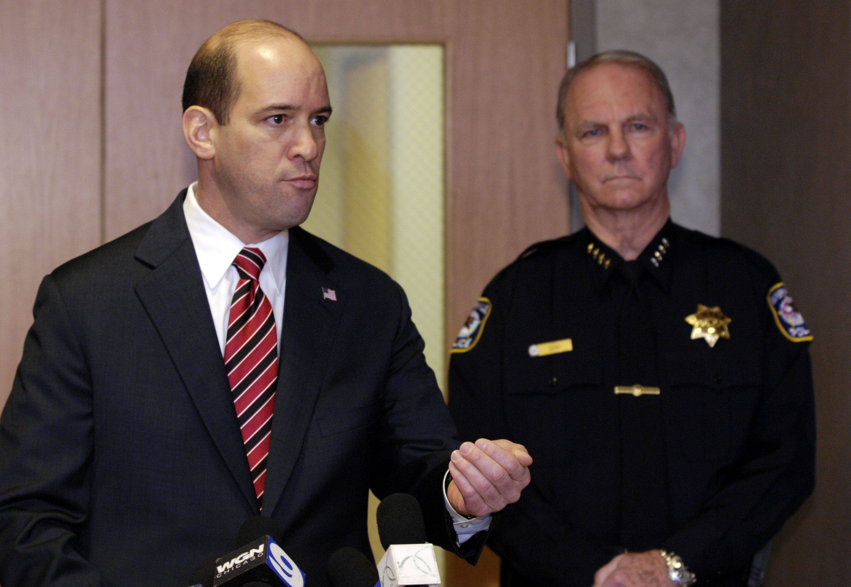 "DuPage County State's Attorney Robert B. Berlin and Naperville Police Chief David Dial discuss the fatal stabbing of Naperville teacher Shaun Wild during a bar fight early Saturday. Dial said there is ""no way to make sense"" of the murder."