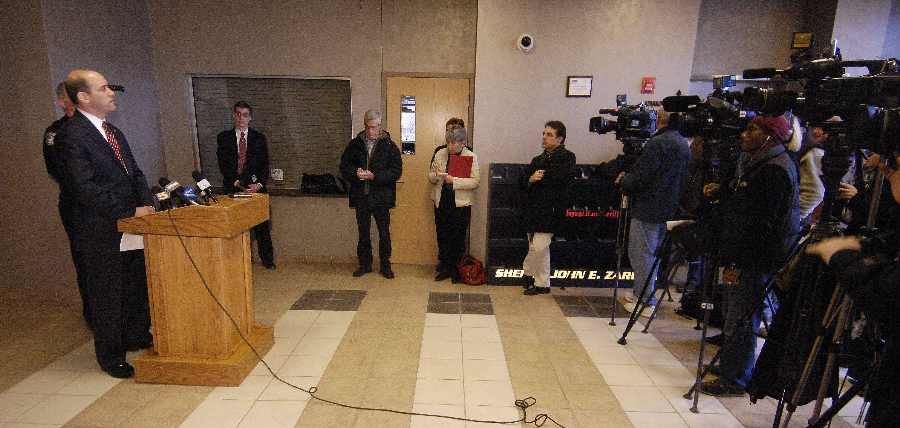 DuPage County State's Attorney Robert B. Berlin held a news conference Sunday to discuss the murder of Naperville teacher Shaun Wild. A 27-year-old Naperville man is charged with stabbing Wild to death early Saturday during a bar fight.