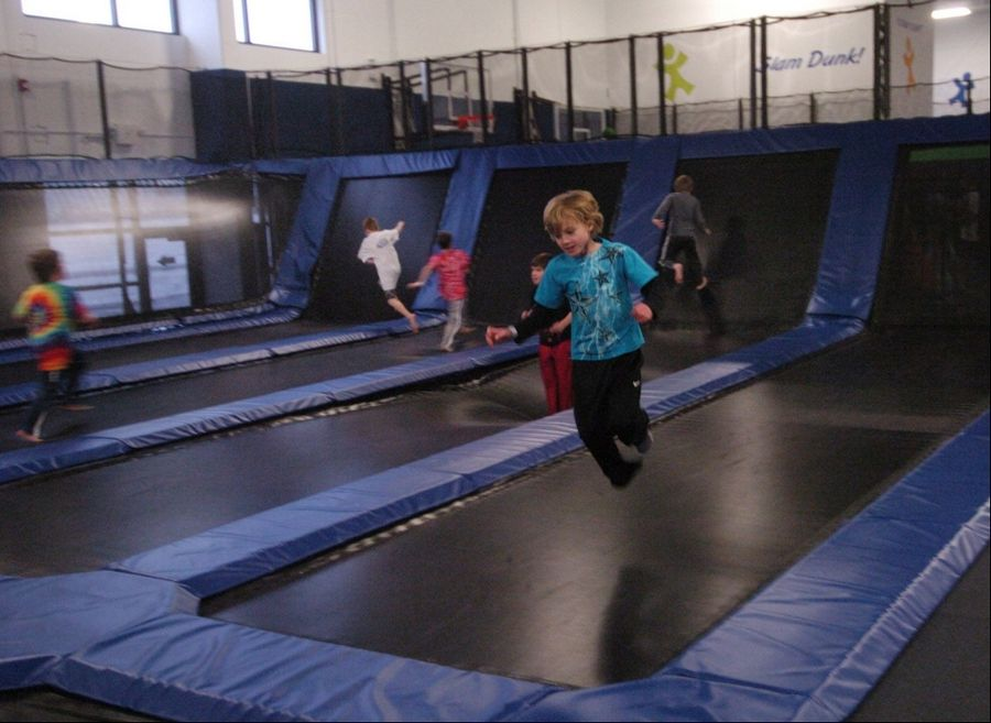 A birthday party playing at Epic Air Trampoline Park in South Elgin.