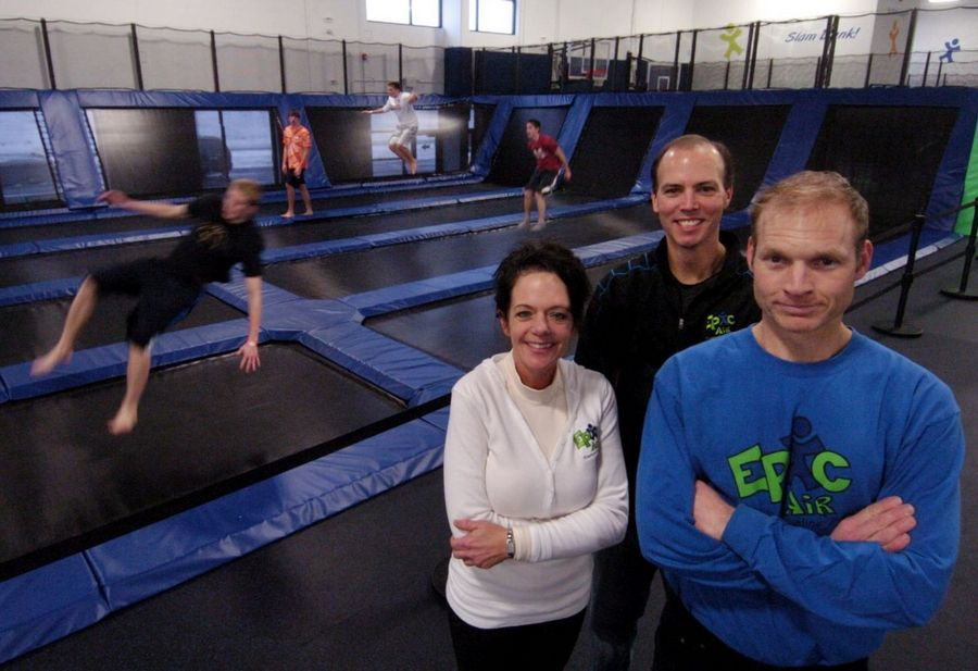 Indoor trampoline parks are bouncing into this area. Jill Rempert, Mike Chamberlin and Kevin Rempert operate Epic Air Trampoline Park in South Elgin.