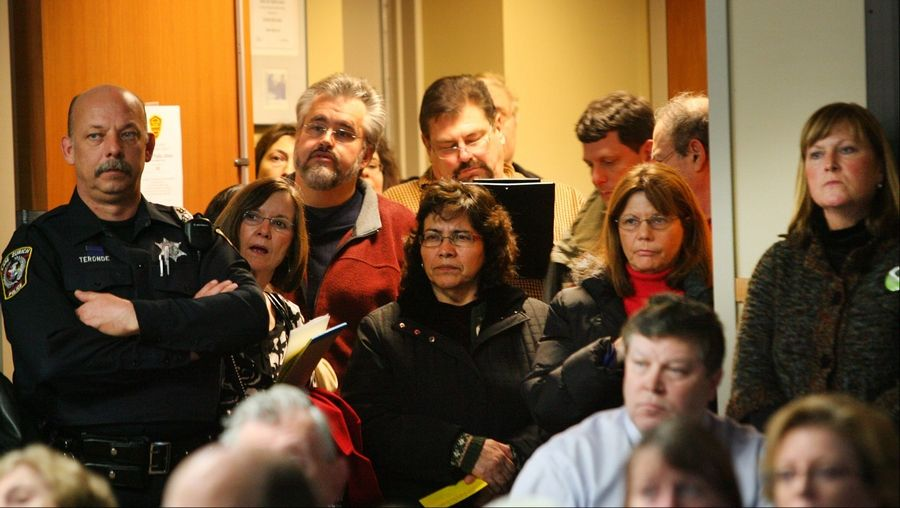 About 40 people were forced to stand in the hallway at Ela Area Public Library during the Lake County Regional Planning Commission meeting Monday. The commission met to discuss a possible commercial development at Old McHenry and Rand roads near Hawthorn Woods.