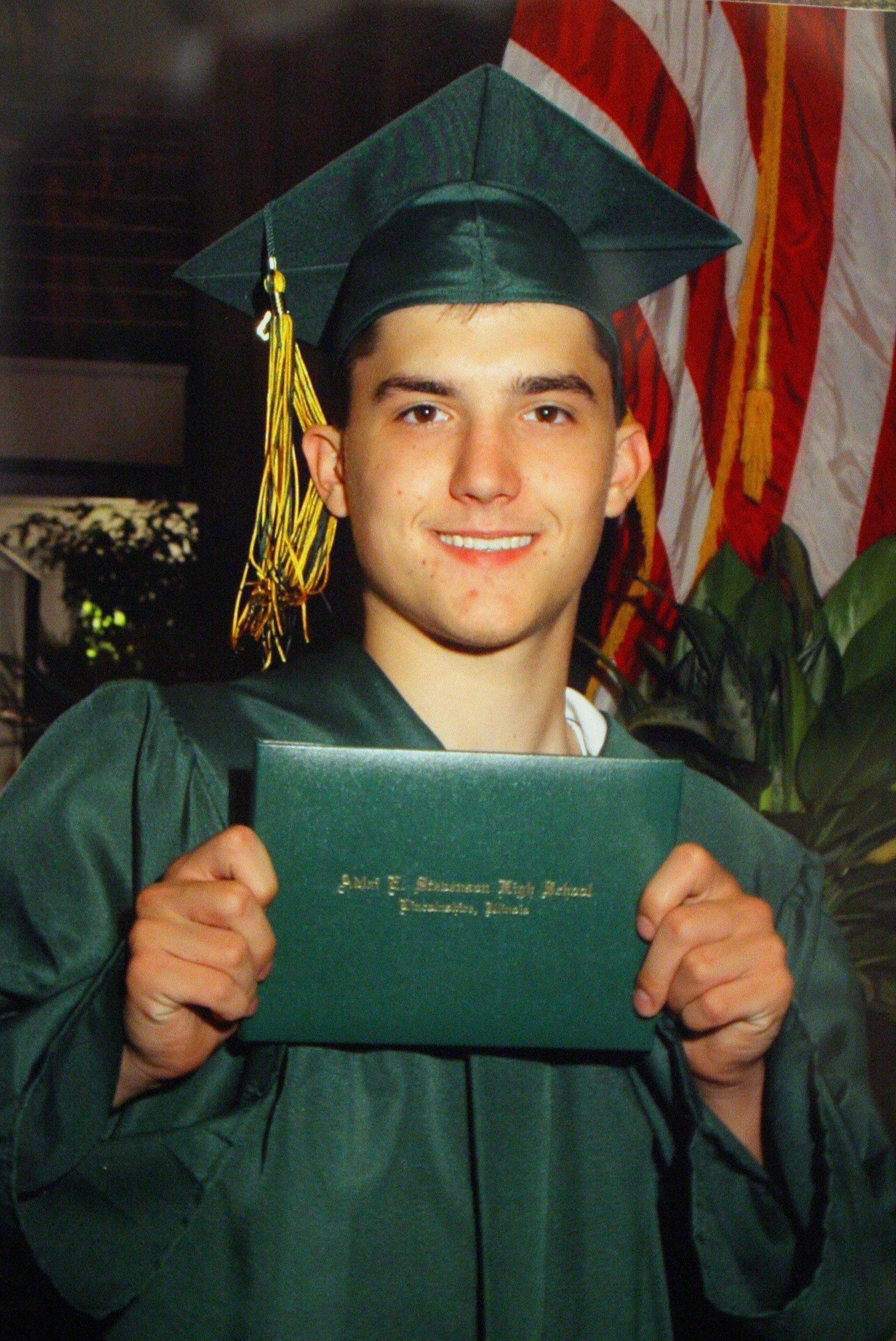 Nick Beinlich of Lincolnshire poses at his Stevenson High School graduation ceremony. In 2007, at age 18, he died of a heroin overdose.