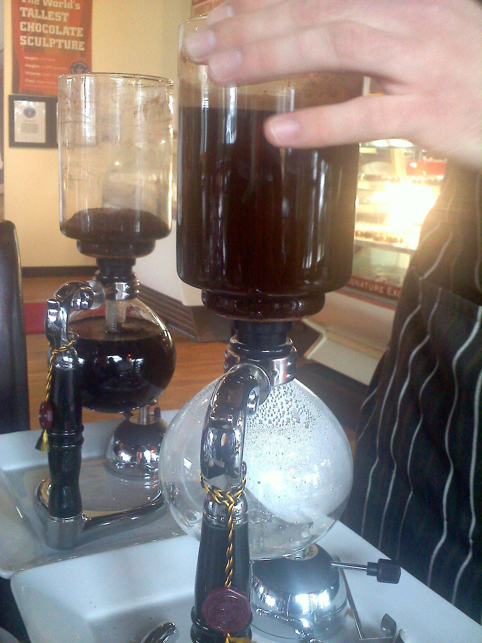Siphon brewed coffee is available at All Chocolate Kitchen in Geneva.