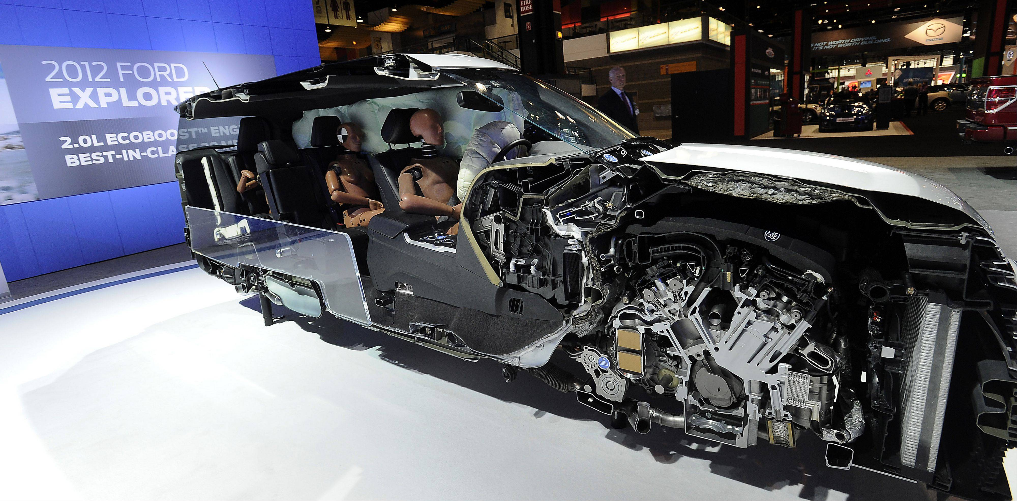 The 2012 Ford Explorer cut-away reveals how airbags are used.