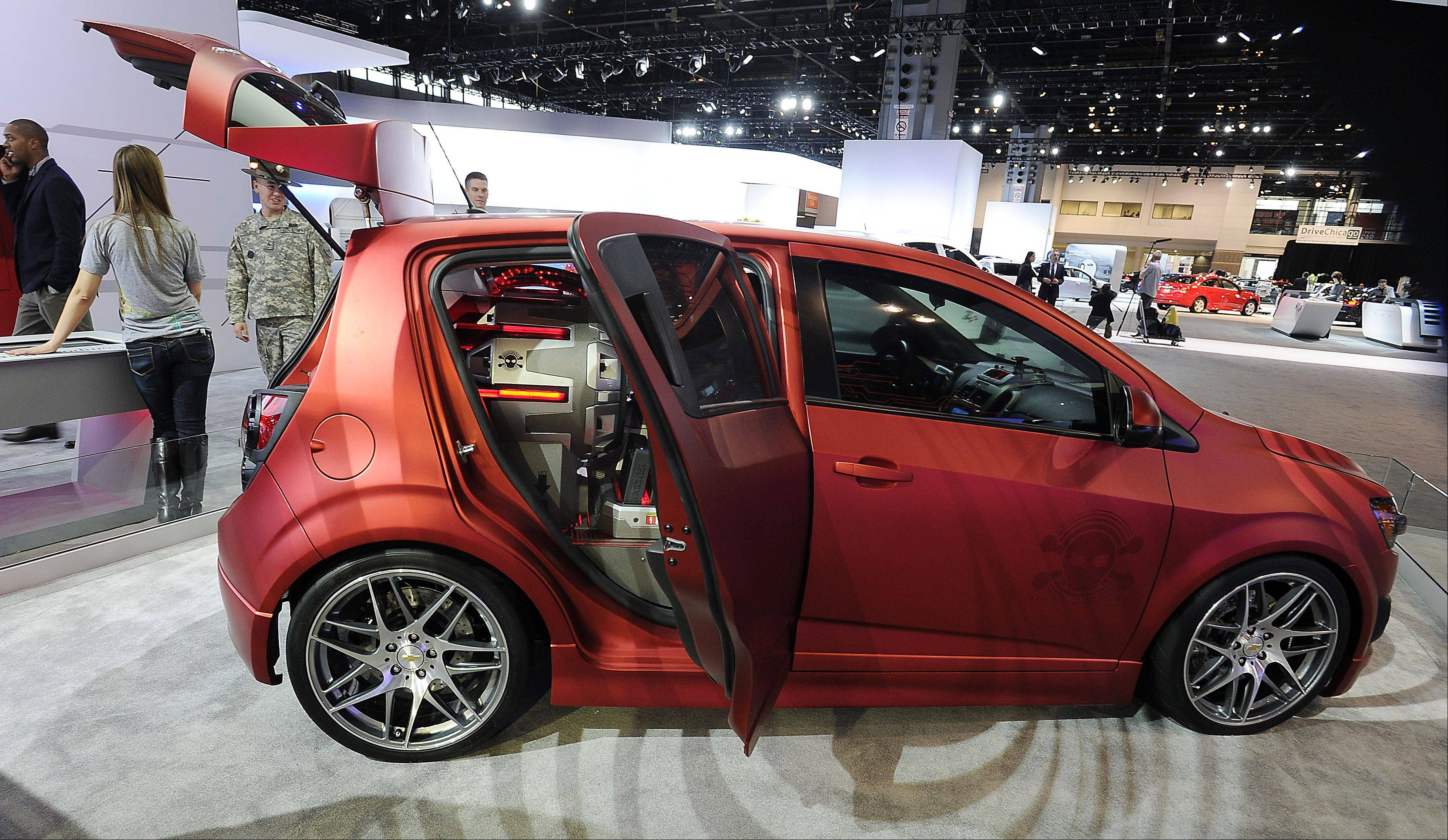 The Chevy Sonic Boom concept is on display.