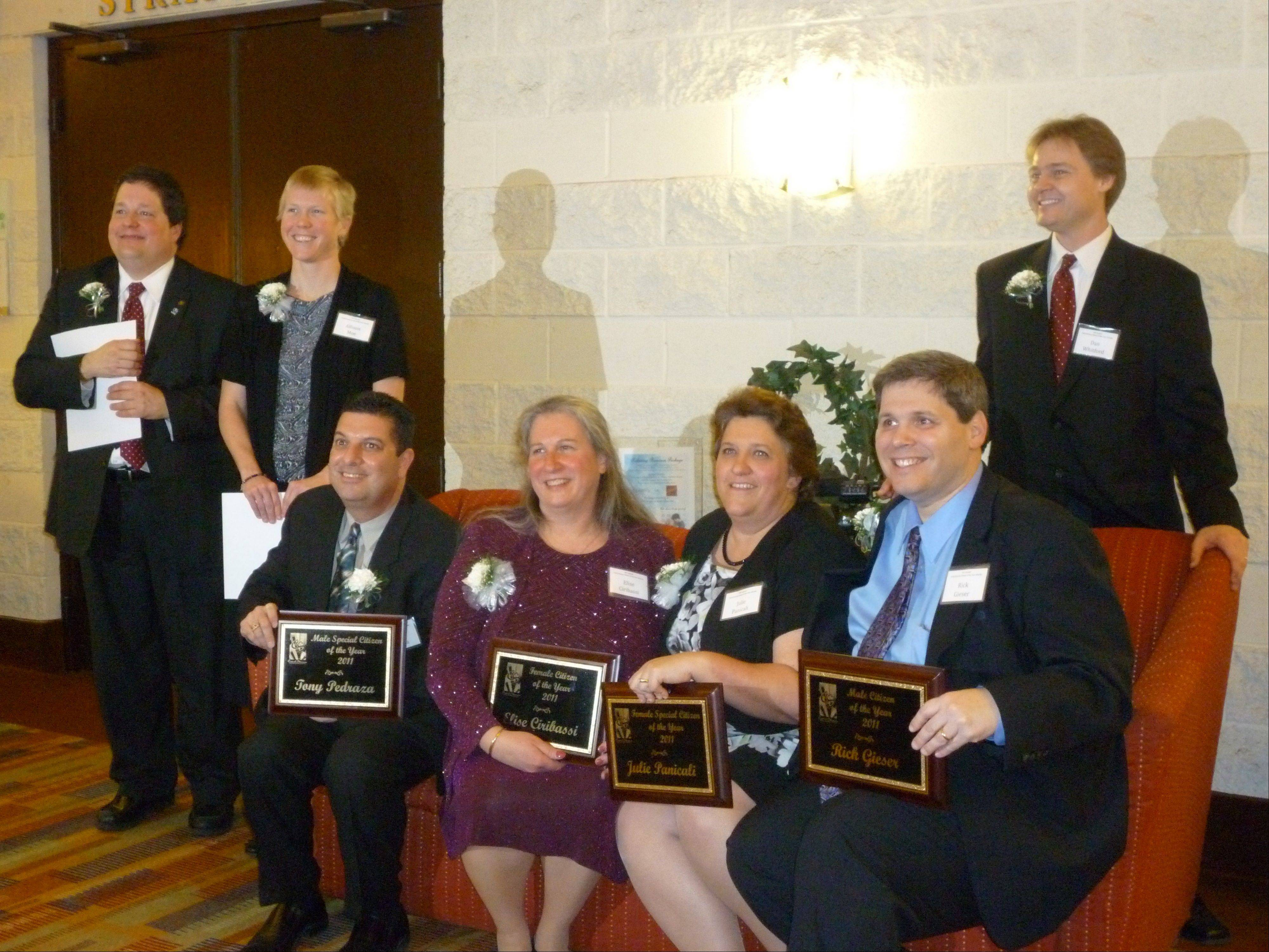 Winners of the 2011 Carol Stream Citizen of the Year awards were recognized at a banquet last weekend. The awardees are, left, Jonathan Fischer, Alison Moe, Tony Pedraza, Elise Ciribassi, Julie Panicali, Rick Gieser and Dan Whitford.