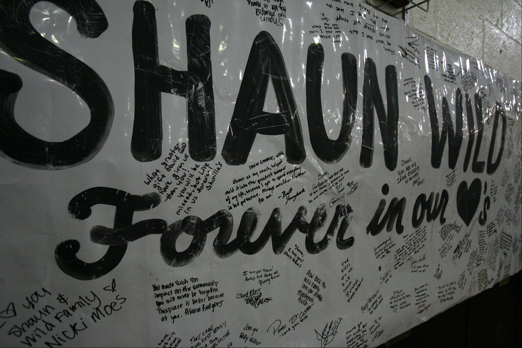 A banner with messages in memory of Shaun Wild was on display before the memorial service.
