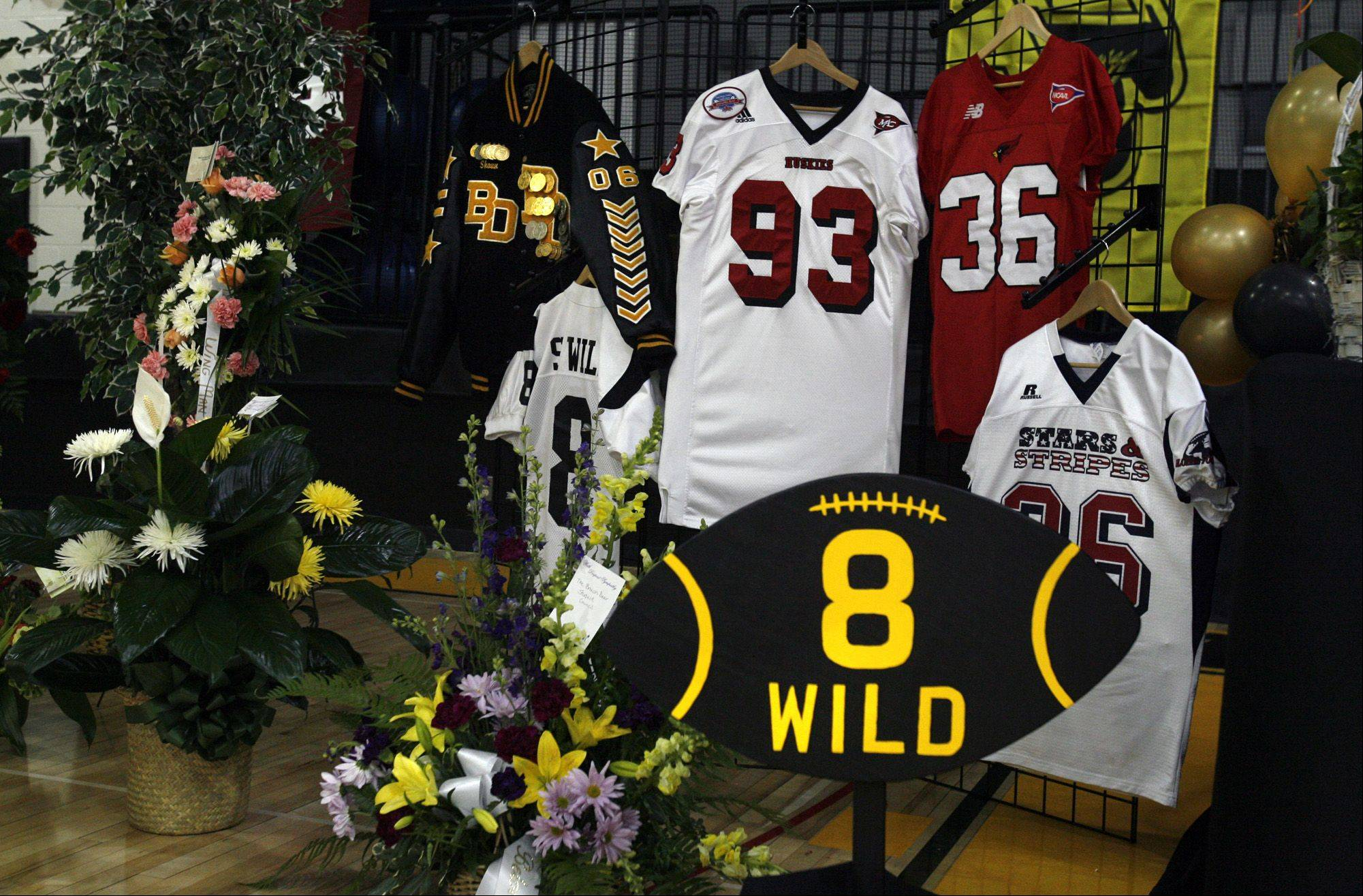A memorial to Shaun Wild was on display.