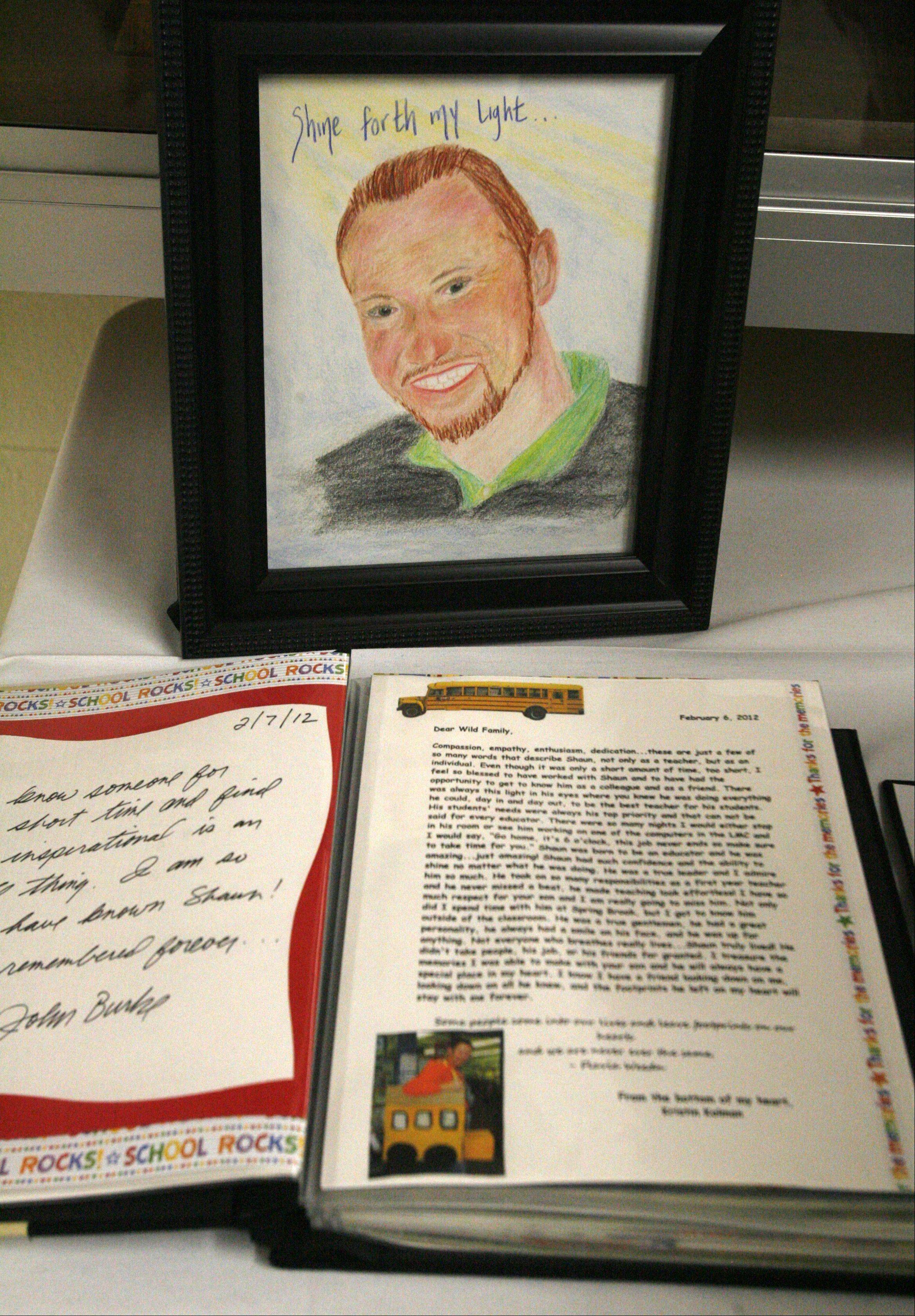 Students from Spring Brook Elementary school wrote notes and made cards for their teacher, Shaun Wild, that were presented to his parents after th