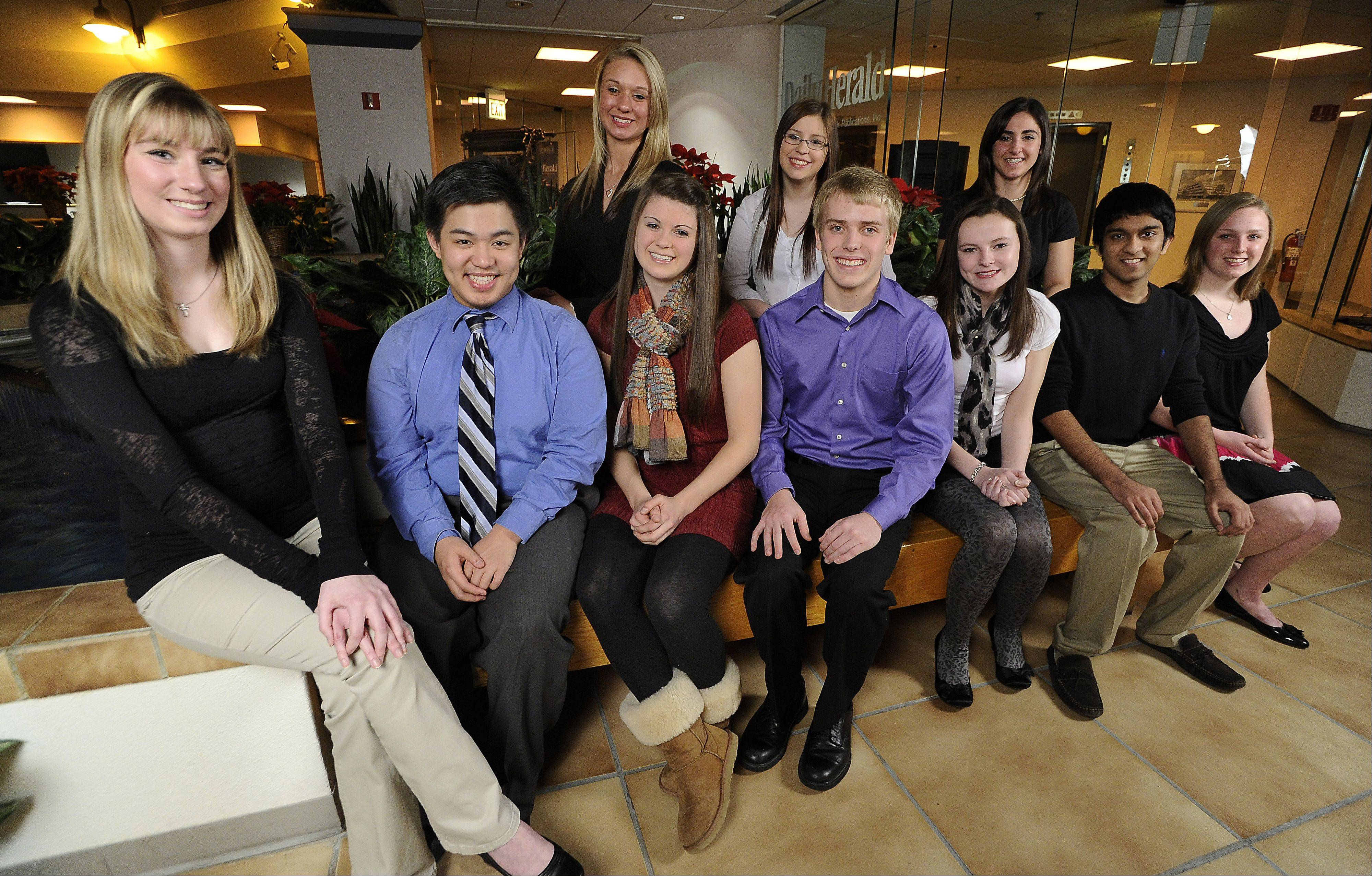The 2011-12 Northwest Suburban Leadership Team, seated from left: Rachel Hasler, Hoffman Estates High School; Kenneth Gonzales, Bartlett High School; Kristen Akialis, Buffalo Grove High School; Daniel Horstmann, St. Viator High School; Katlin Allen, Palatine High School; Parth Shah, Schaumburg High School and Moriah Mulroe, Hersey High School. Standing, from left: Jennifer Krick, Bartlett High School; Jessica Giambarberee, Prospect High School and Tamar Alexanian, William Fremd High School.