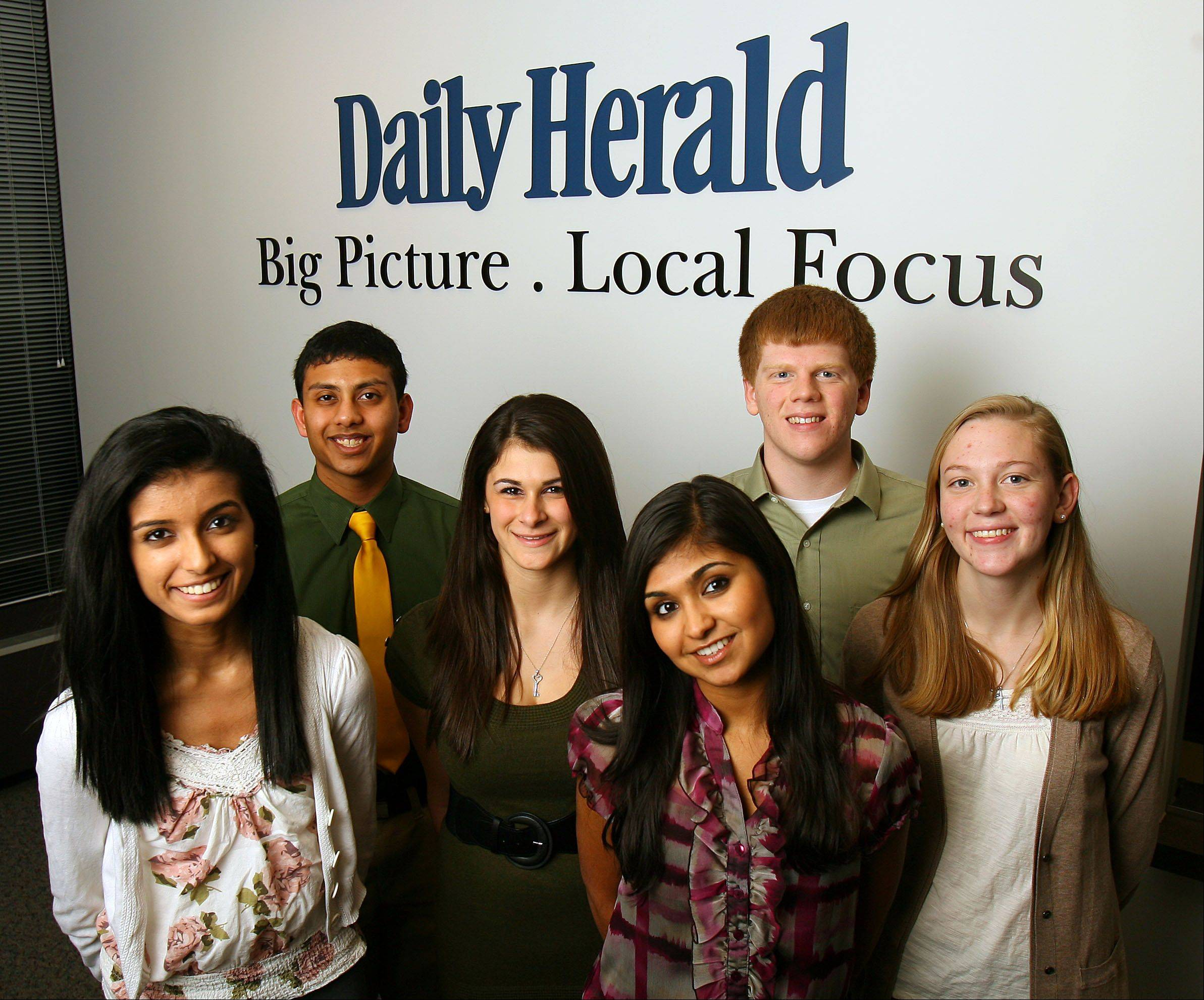 The 2011-12 Lake County Leadership Team, from left: Sonia Doshi, Adlai E. Stevenson High School; Abhiram Sanka, Adlai E. Stevenson High School; Bianca Tomassetti, Libertyville High School; Sanchita Agrawal, Vernon Hills High School; William Hennessy, Warren Township High School; Megan Ewan, Lake Zurich High School. Not pictured: Seamus Quilty and Katie Skorcz, both of Carmel Catholic High School; Magdalena Cychowski, Warren Township High School and Kate Lee, Vernon Hills High School.