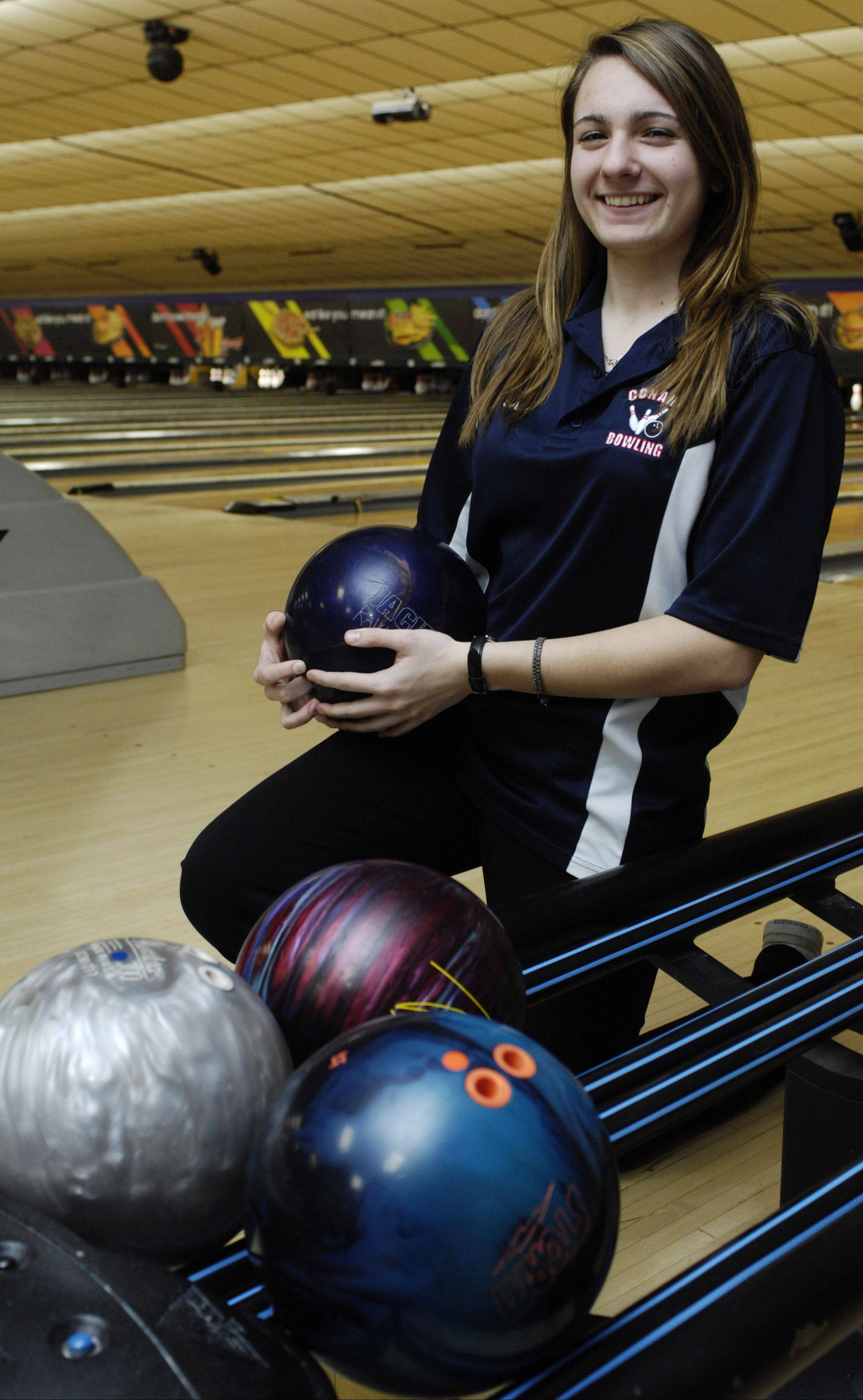 Conant bowler Sam Pincenti preps for this weekend's state tournament.