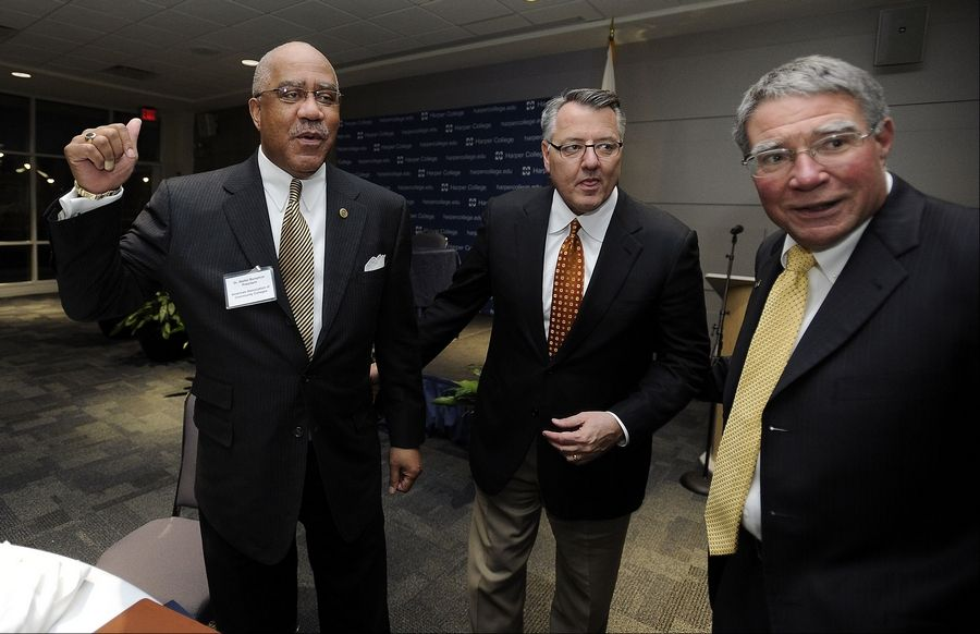 American Association of Community Colleges President and CEO Walter Bumphus (left) and Motorola Solutions CEO Greg Brown joined Harper College President Ken Ender (right) for a panel discussion Thursday at the Palatine campus on America's shortage of skilled workers.